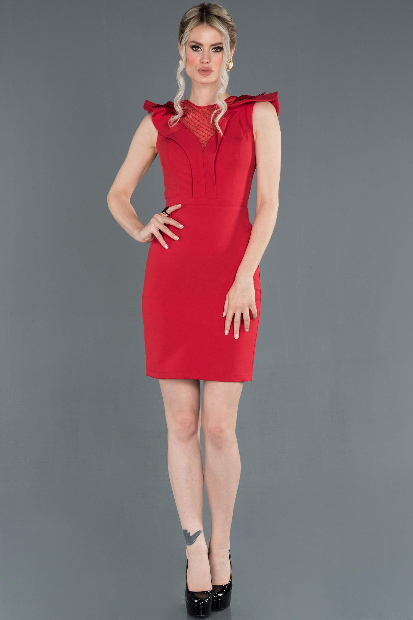 Kırmızı Kol Detaylı Davet Elbisesi