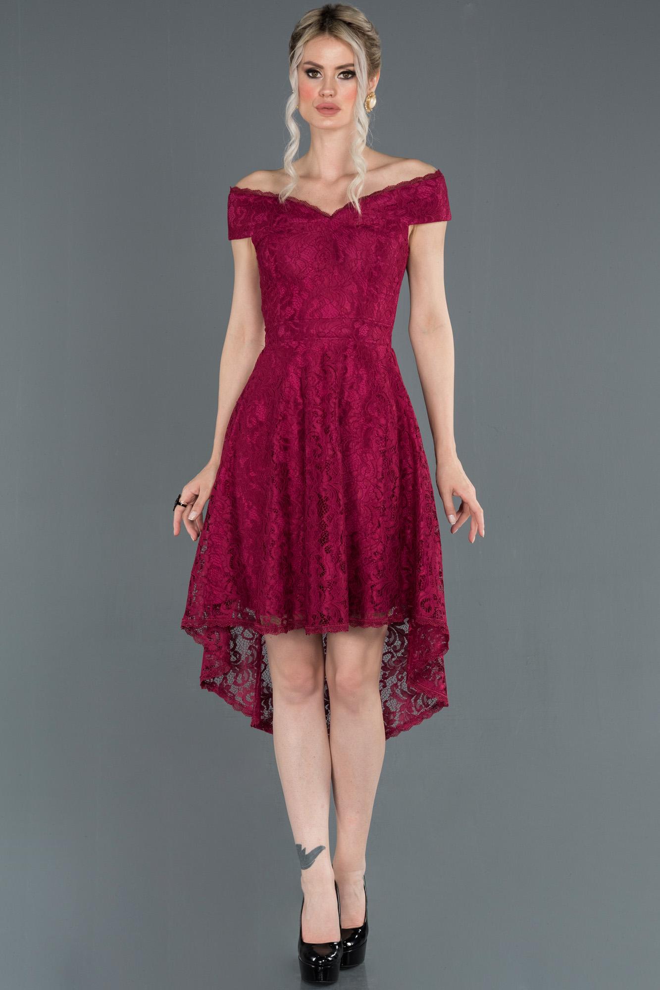 Mürdüm Önü Kısa Arkası Uzun Kayık Yaka Mezuniyet Elbisesi
