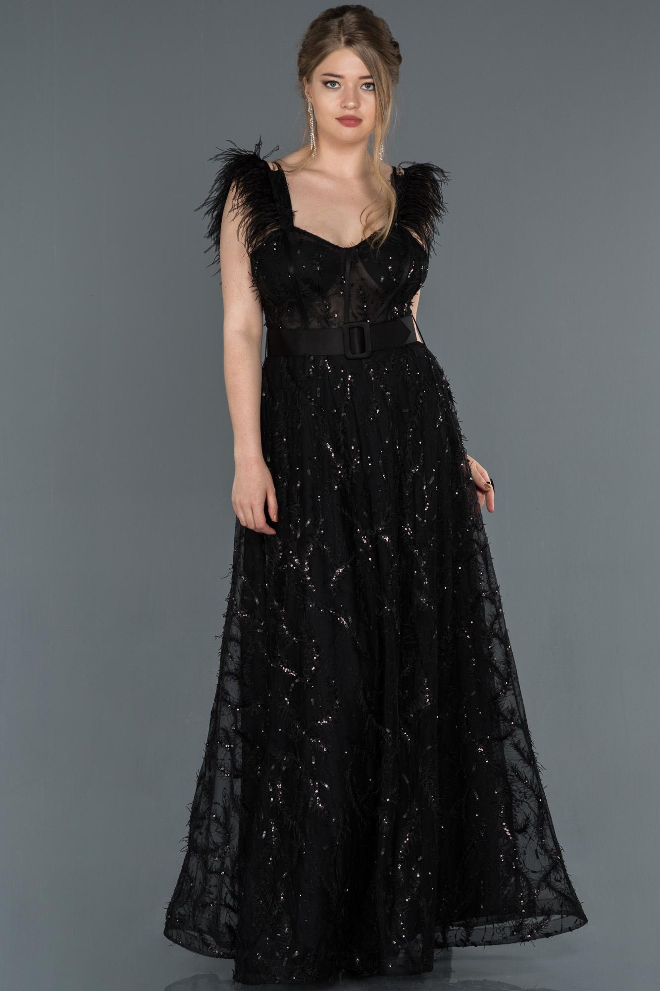 Siyah Sırt Dekolteli Pul Payet Abiye Elbise