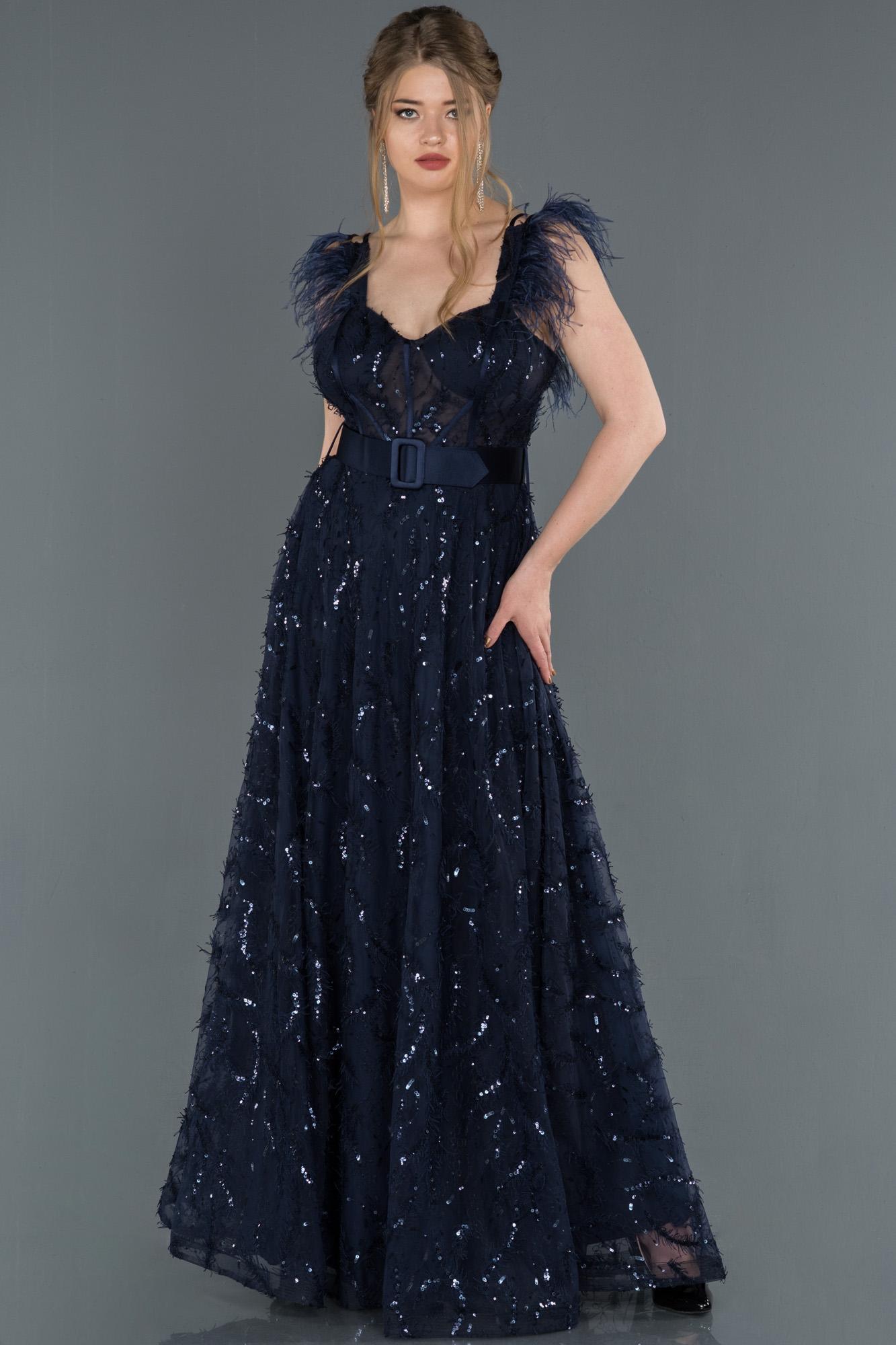 Lacivert Sırt Dekolteli Pul Payet Abiye Elbise