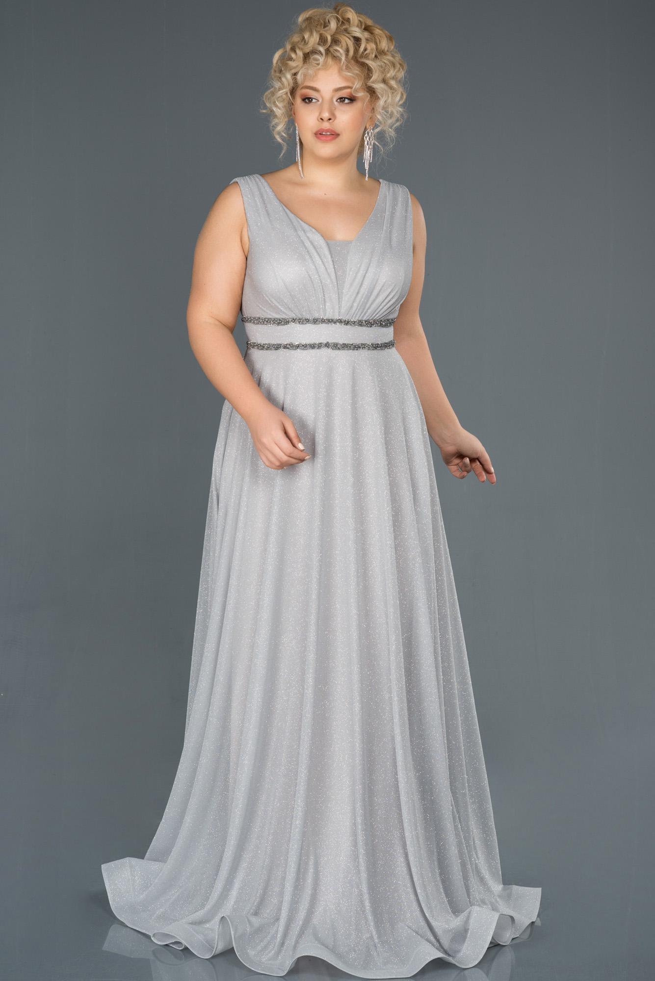 Gümüş Uzun Simli Büyük Beden Abiye Elbise