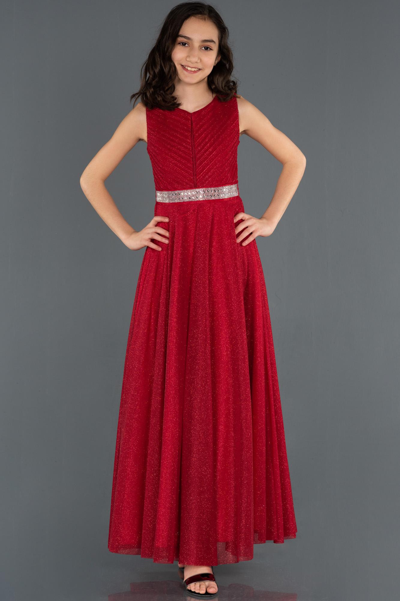 Kırmızı Bel Detaylı Çocuk Abiye Elbise