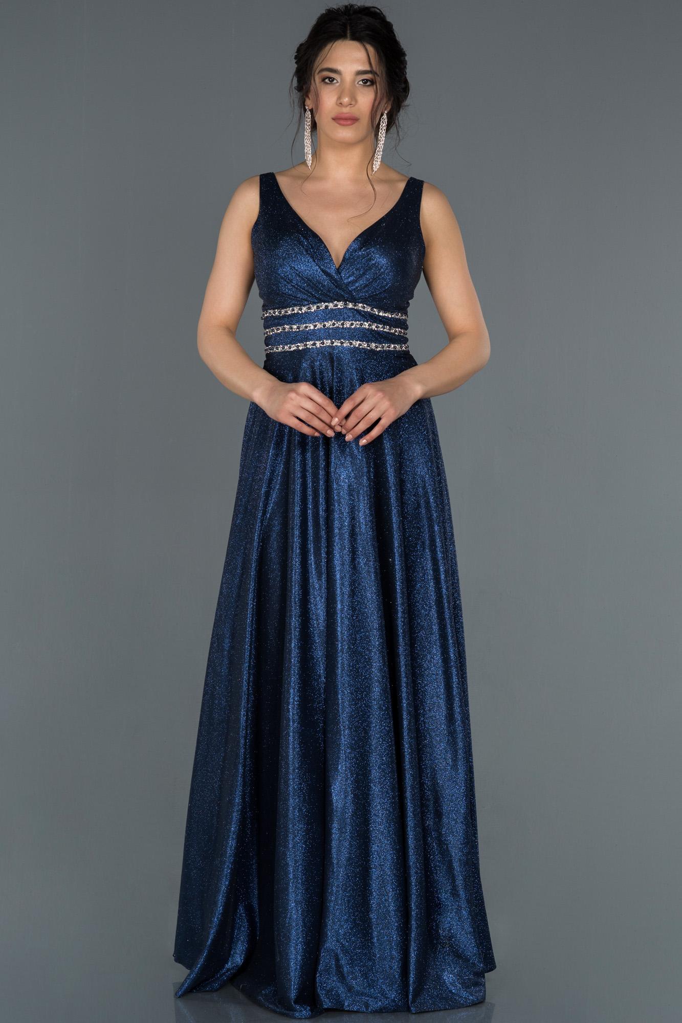 Lacivert Kruvaze Yaka Simli Abiye Elbise