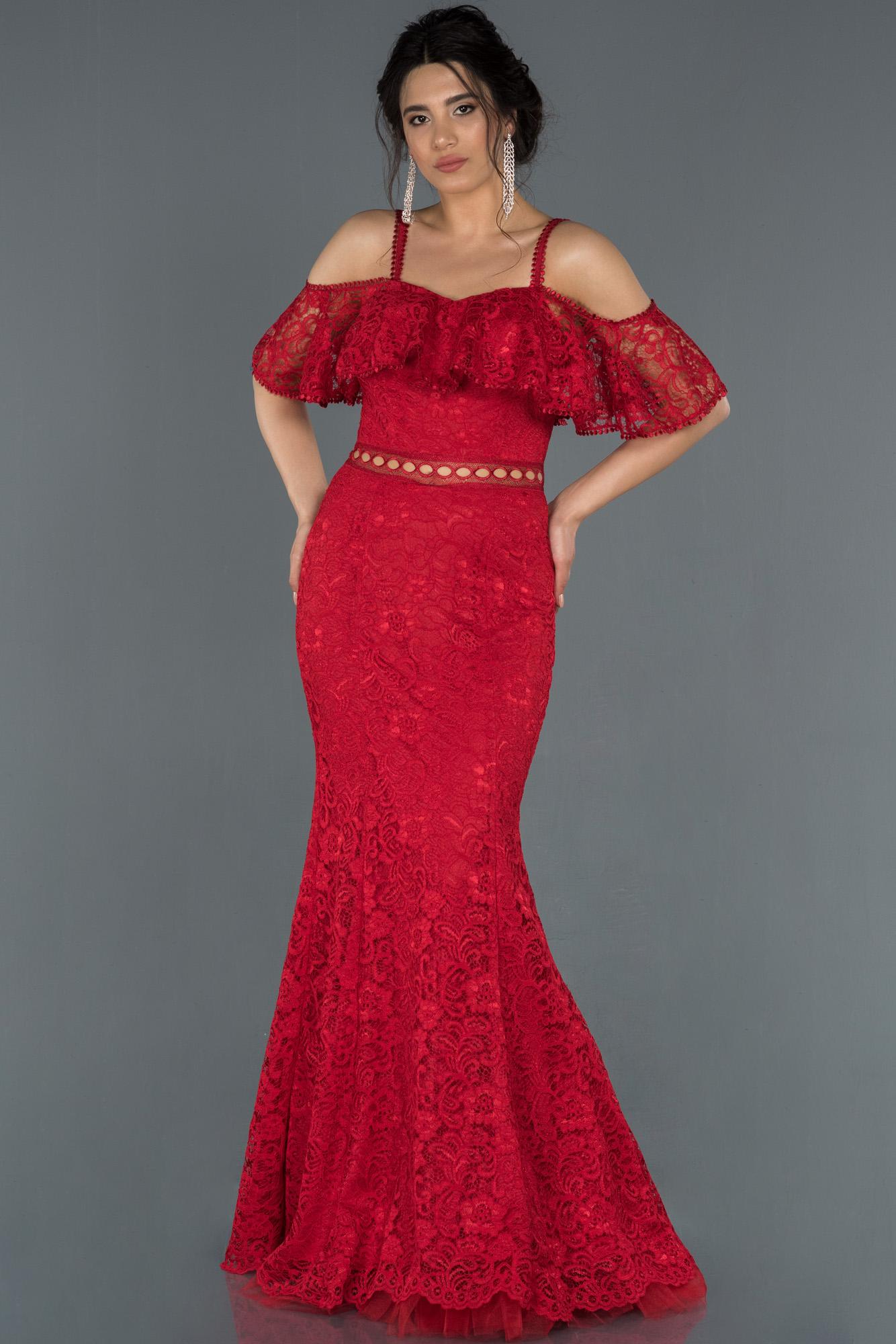 Kırmızı Uzun Omuz Dekolteli Güpürlü Abiye Elbise