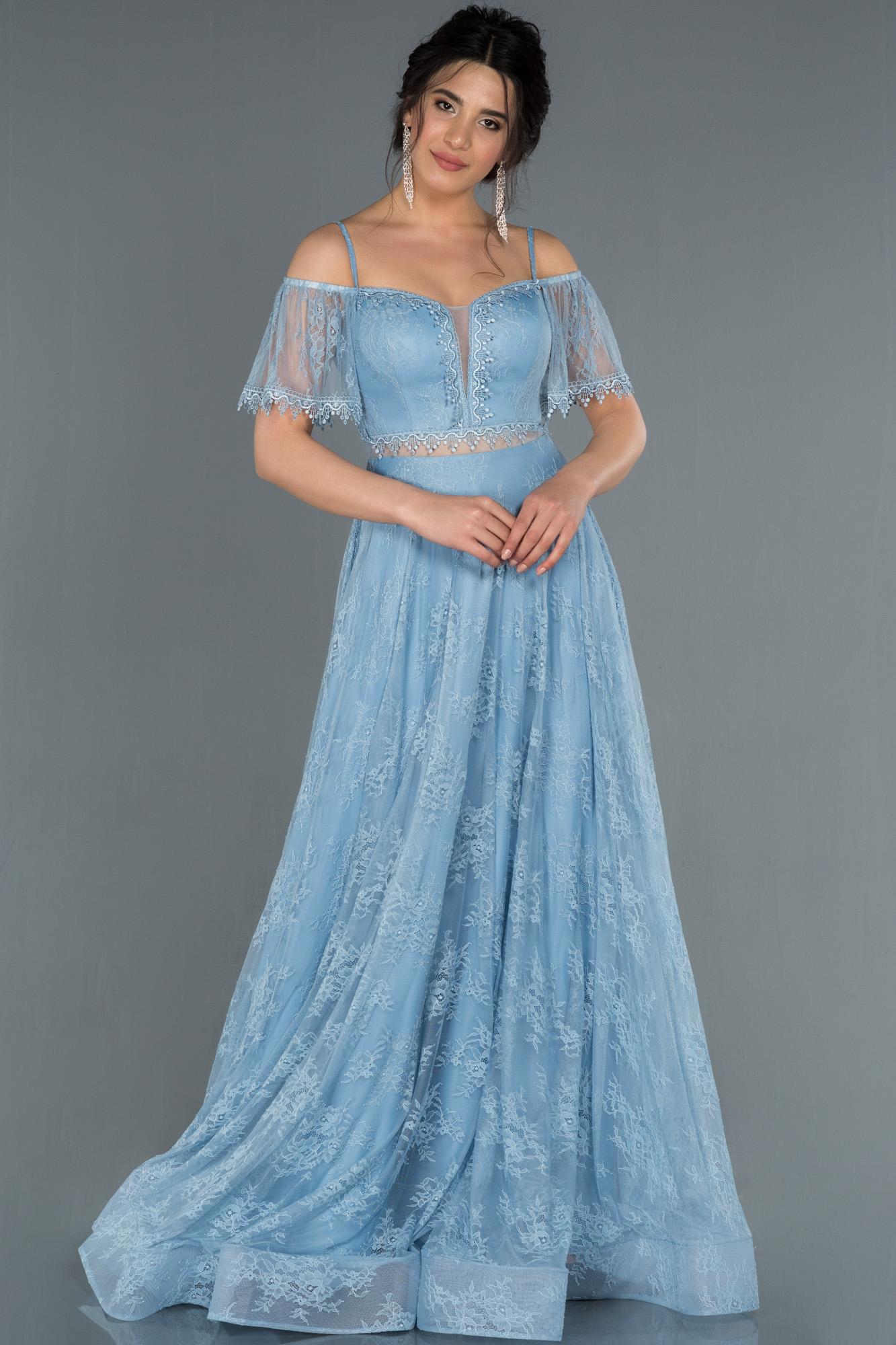 Indigo Kayık Yaka Dantelli Abiye Elbise