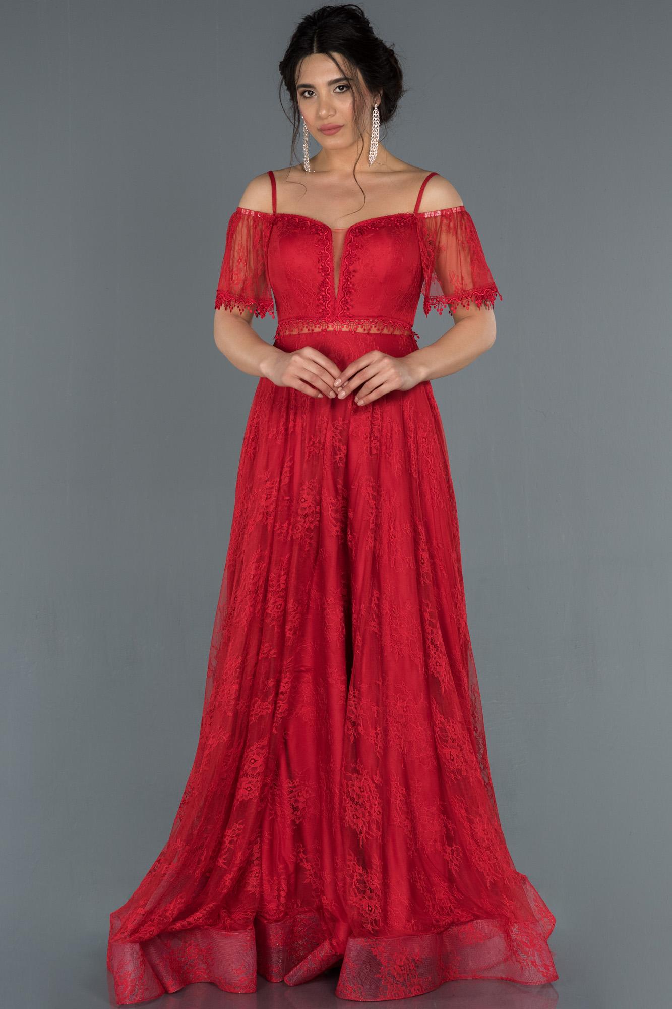 Kırmızı Kayık Yaka Dantelli Abiye Elbise