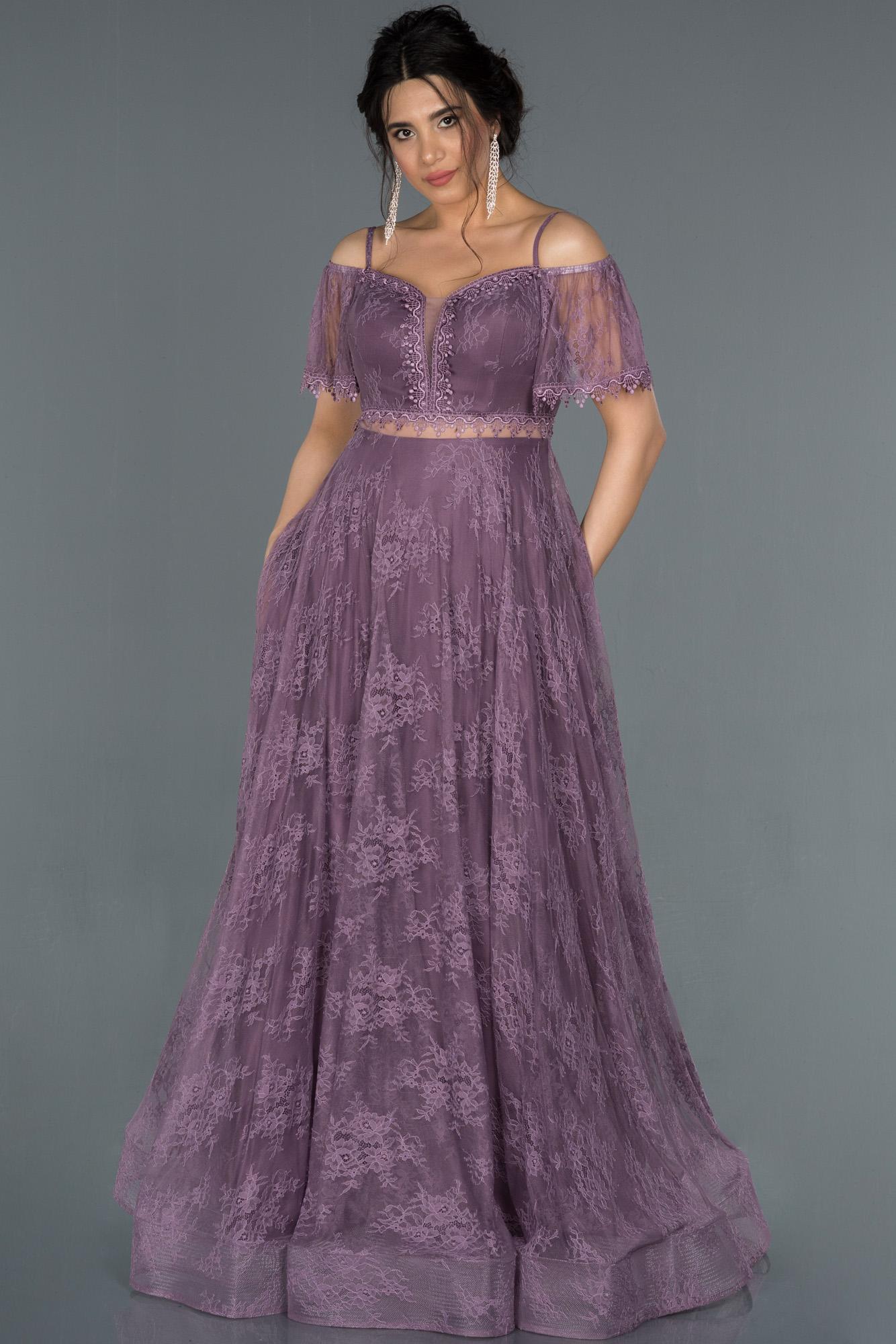 Lavanta Kayık Yaka Dantelli Abiye Elbise