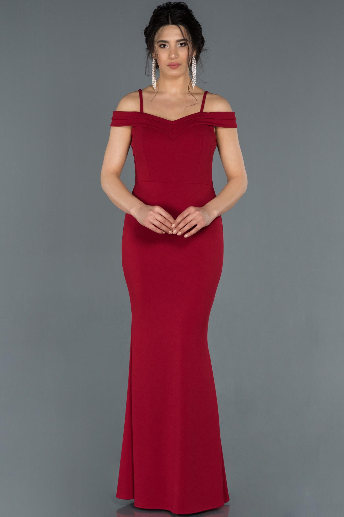 Kırmızı Kayık Yaka Balık Abiye Elbise