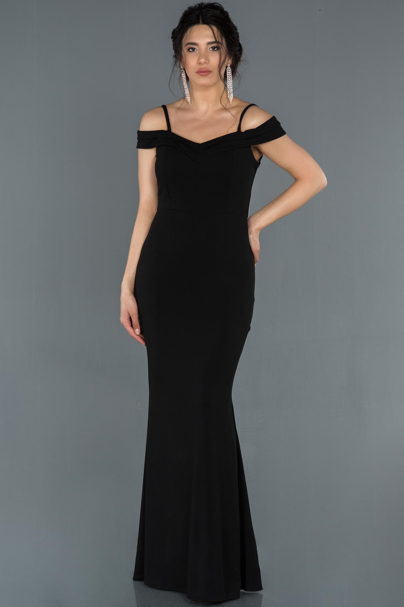 Siyah Kayık Yaka Balık Abiye Elbise