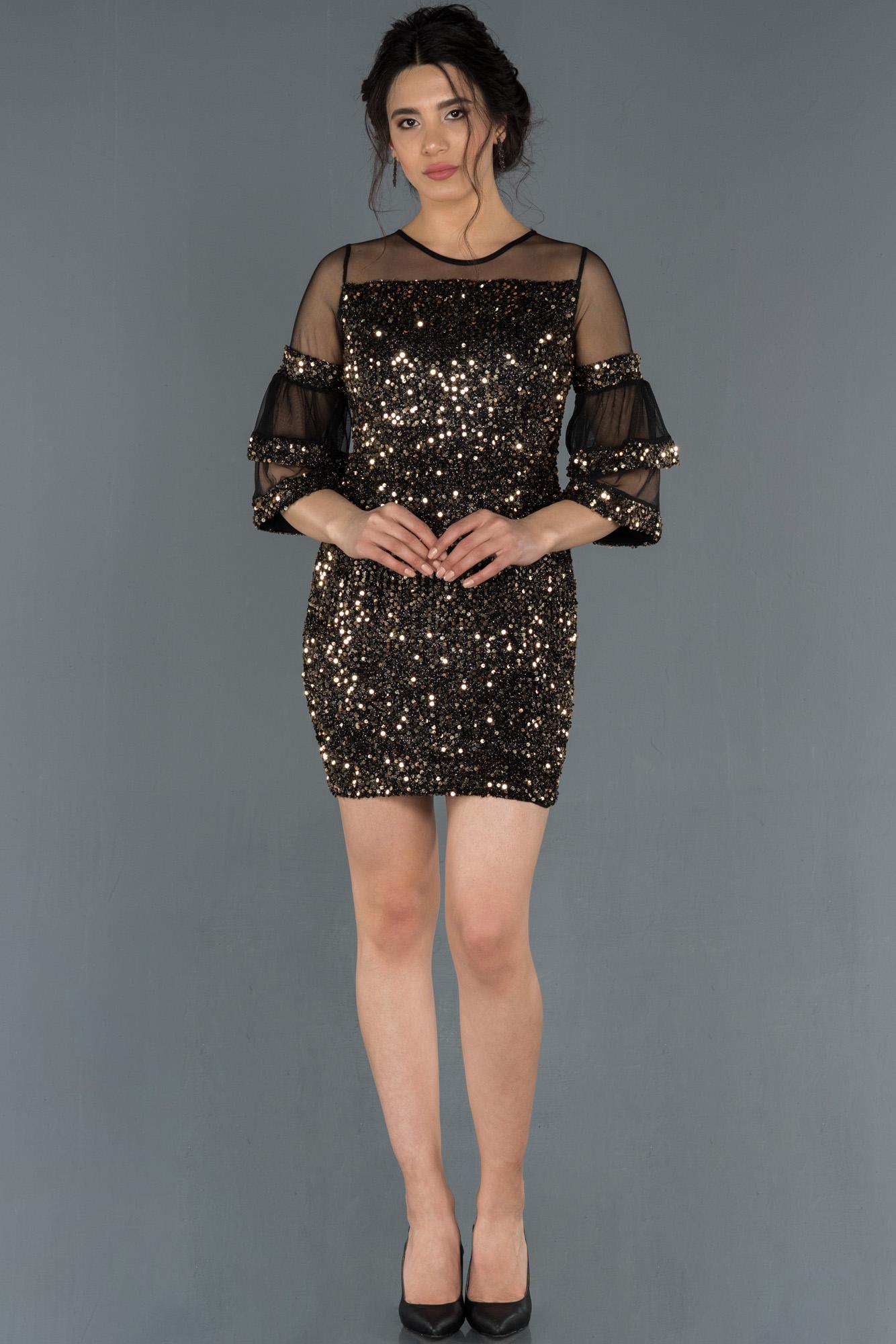 Siyah-Gold Kısa Pullu Davet Elbisesi