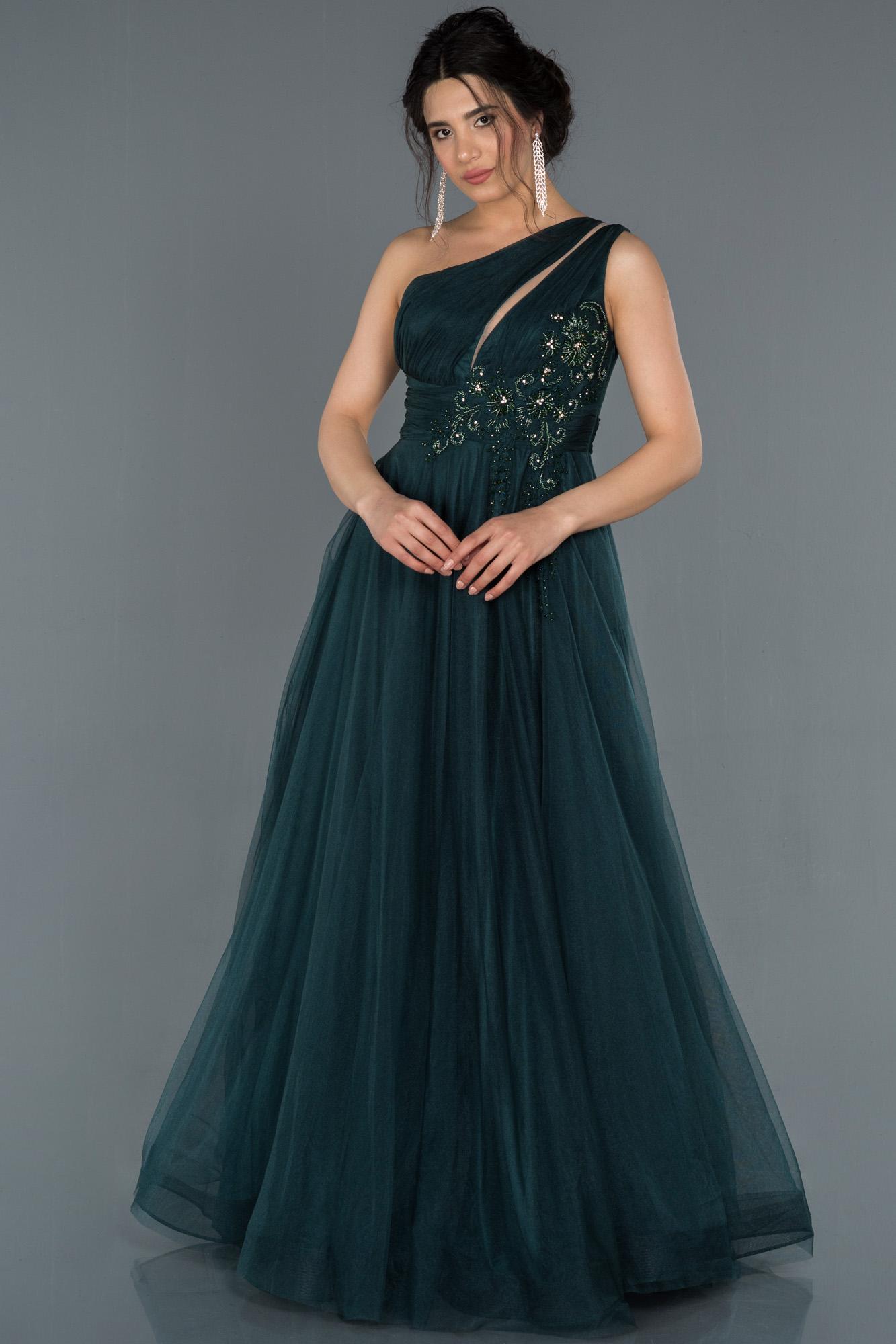Zümrüt Yeşili Taş Işlemeli Prenses Abiye Elbise