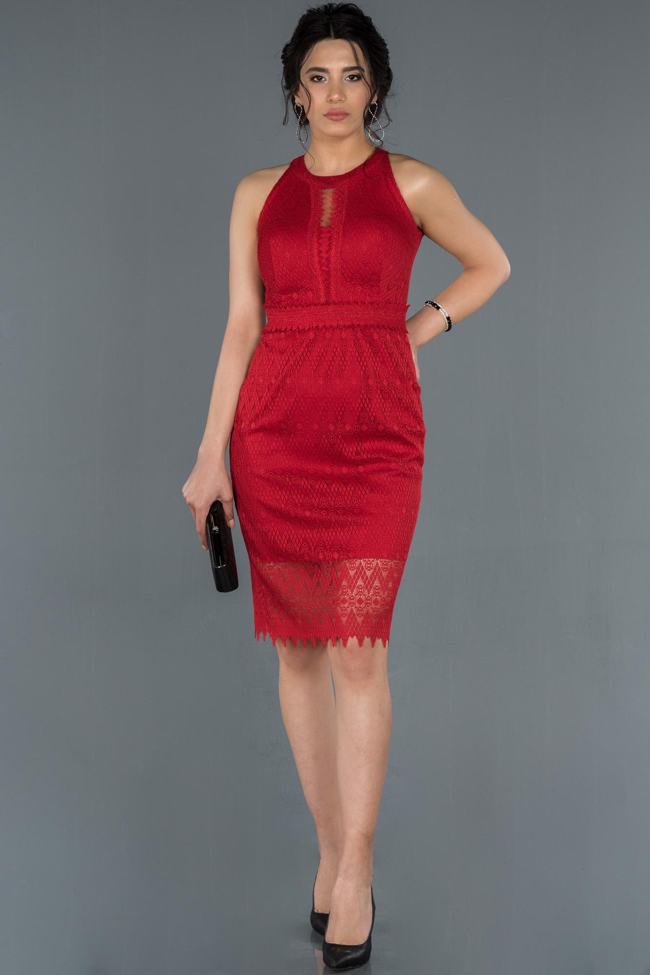 Kırmızı Kısa Dantelli Davet Elbisesi