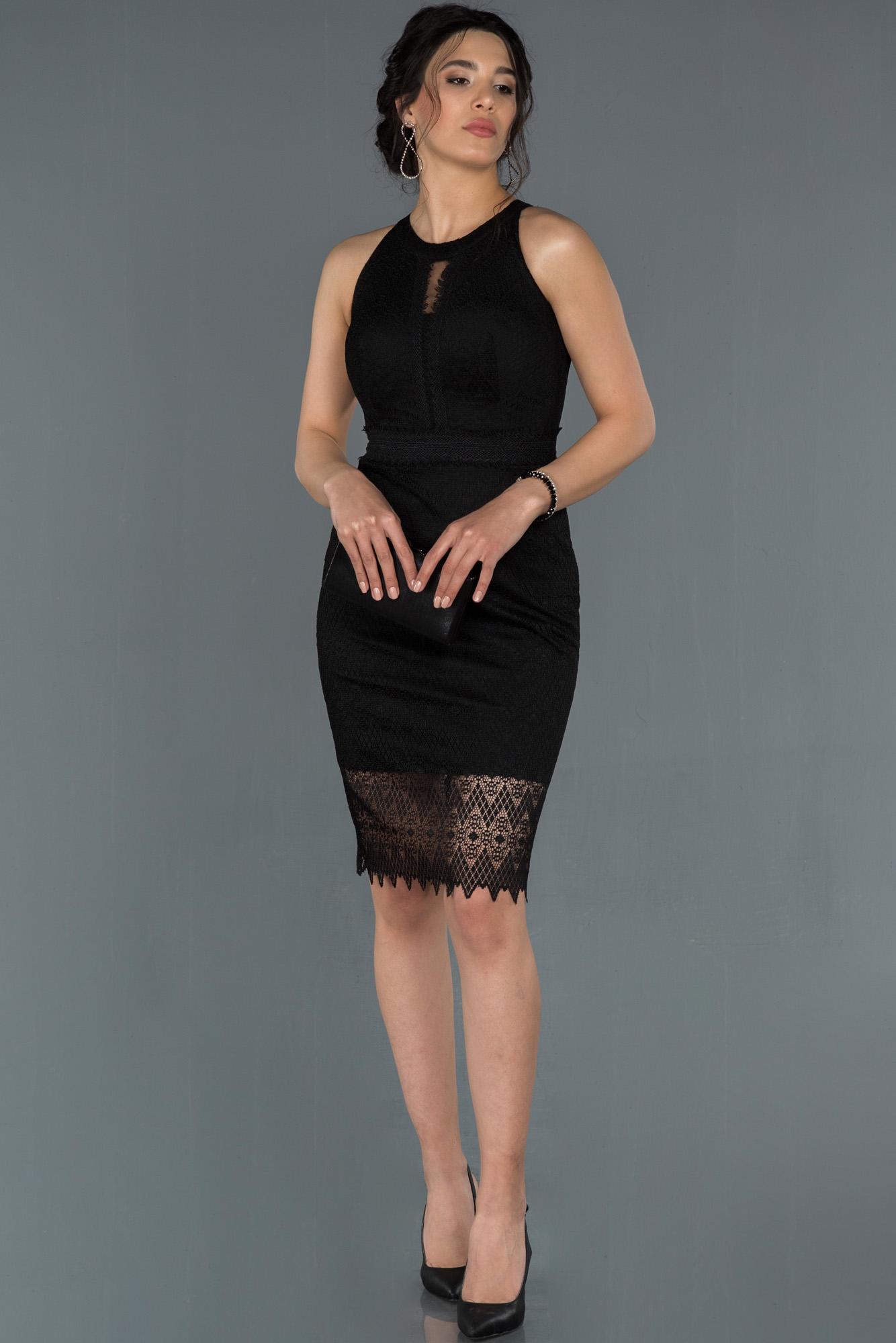 Siyah Kısa Dantelli Davet Elbisesi