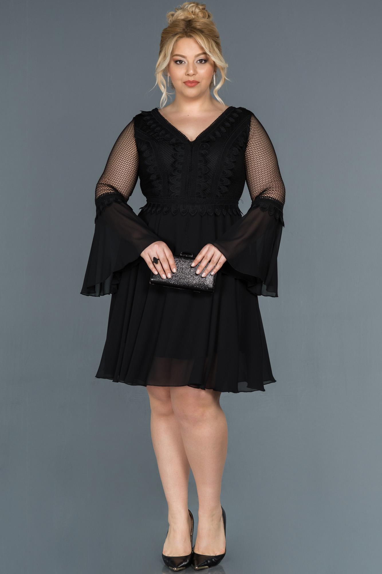 Siyah Ispanyol Kol Büyük Beden Abiye Elbise