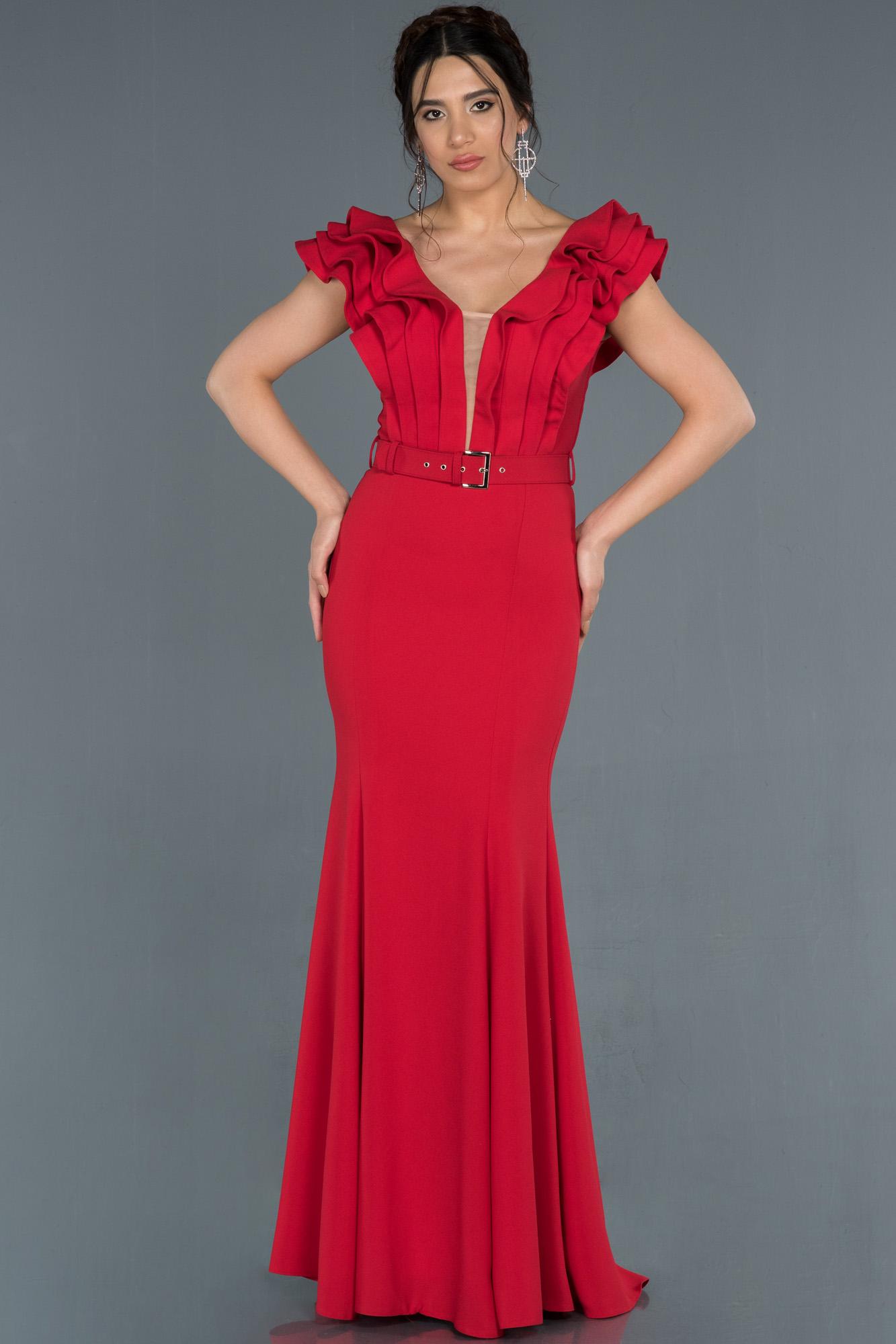 Kırmızı Yakası Katlı Balık Abiye Elbise