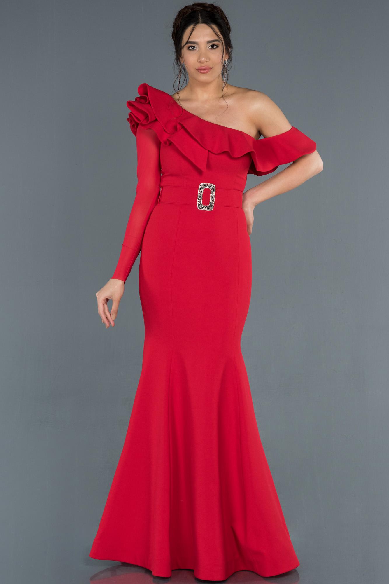 Kırmızı Tek Kol Transparan Balık Abiye Elbise