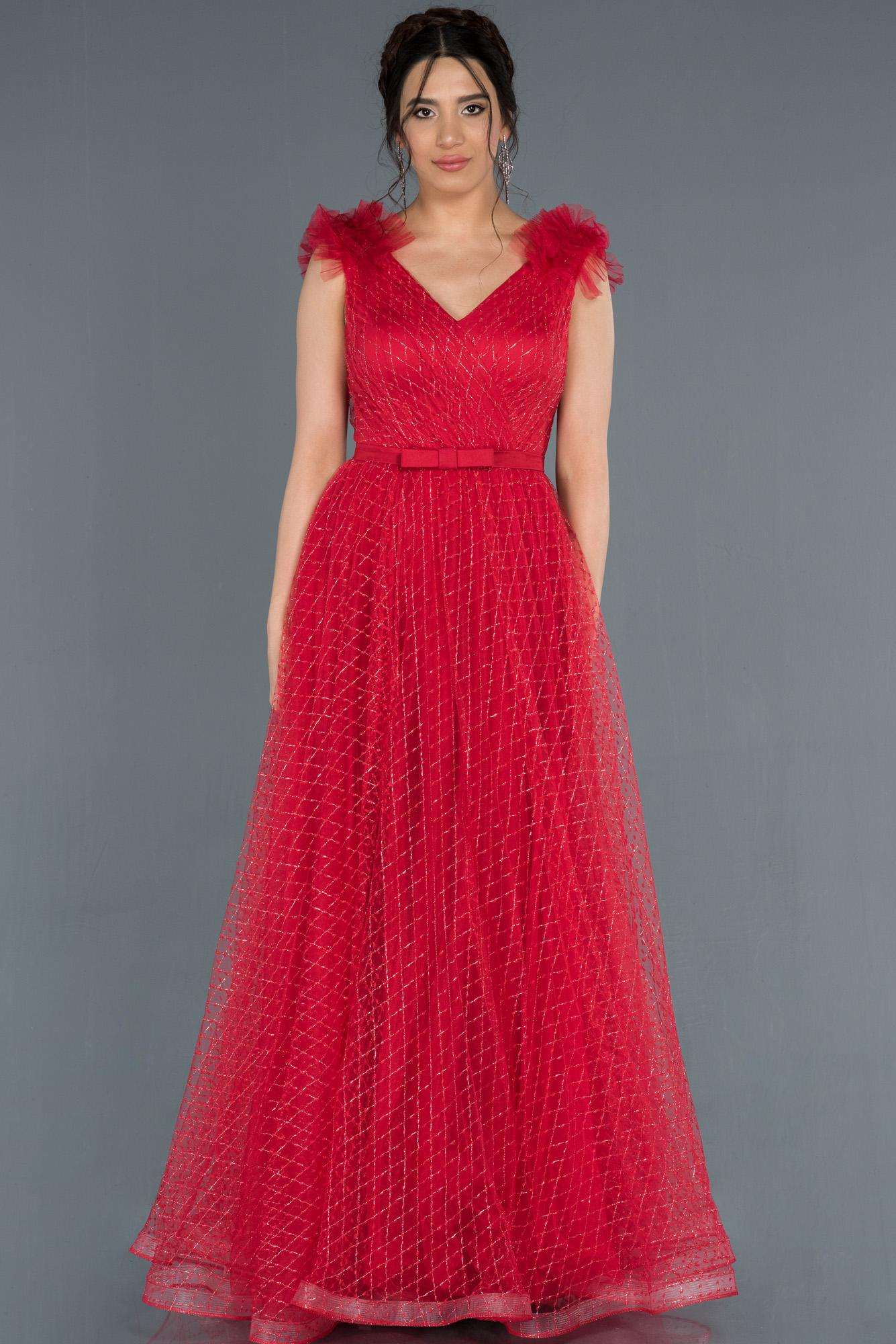 Kırmızı V Yaka Sim Detaylı Prenses Abiye Elbise