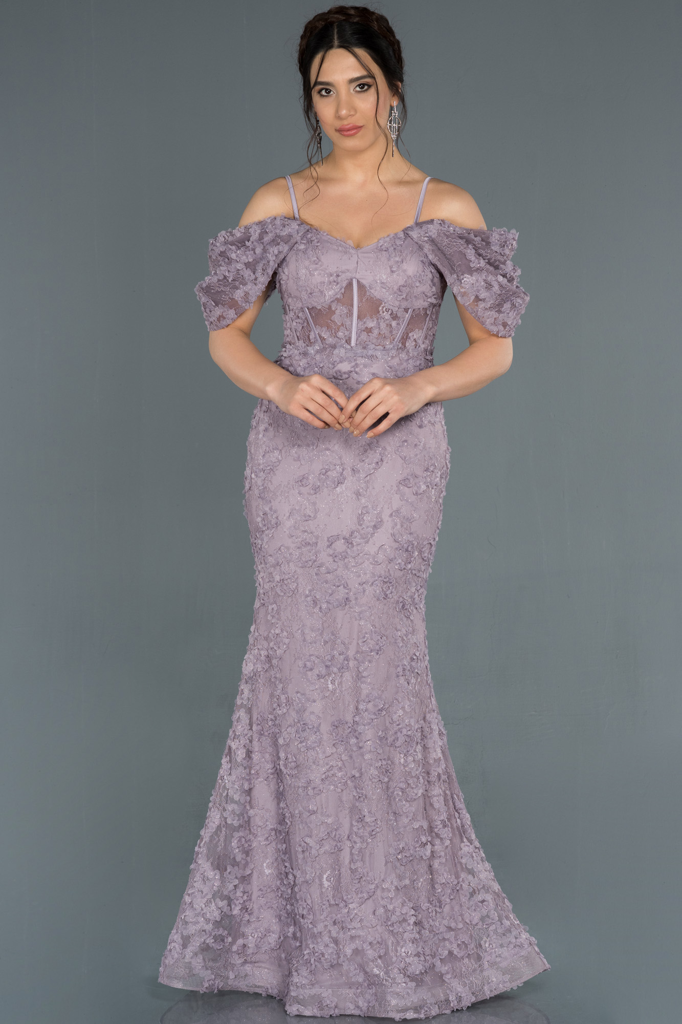 Lila Kol Detaylı Balık Abiye Elbise