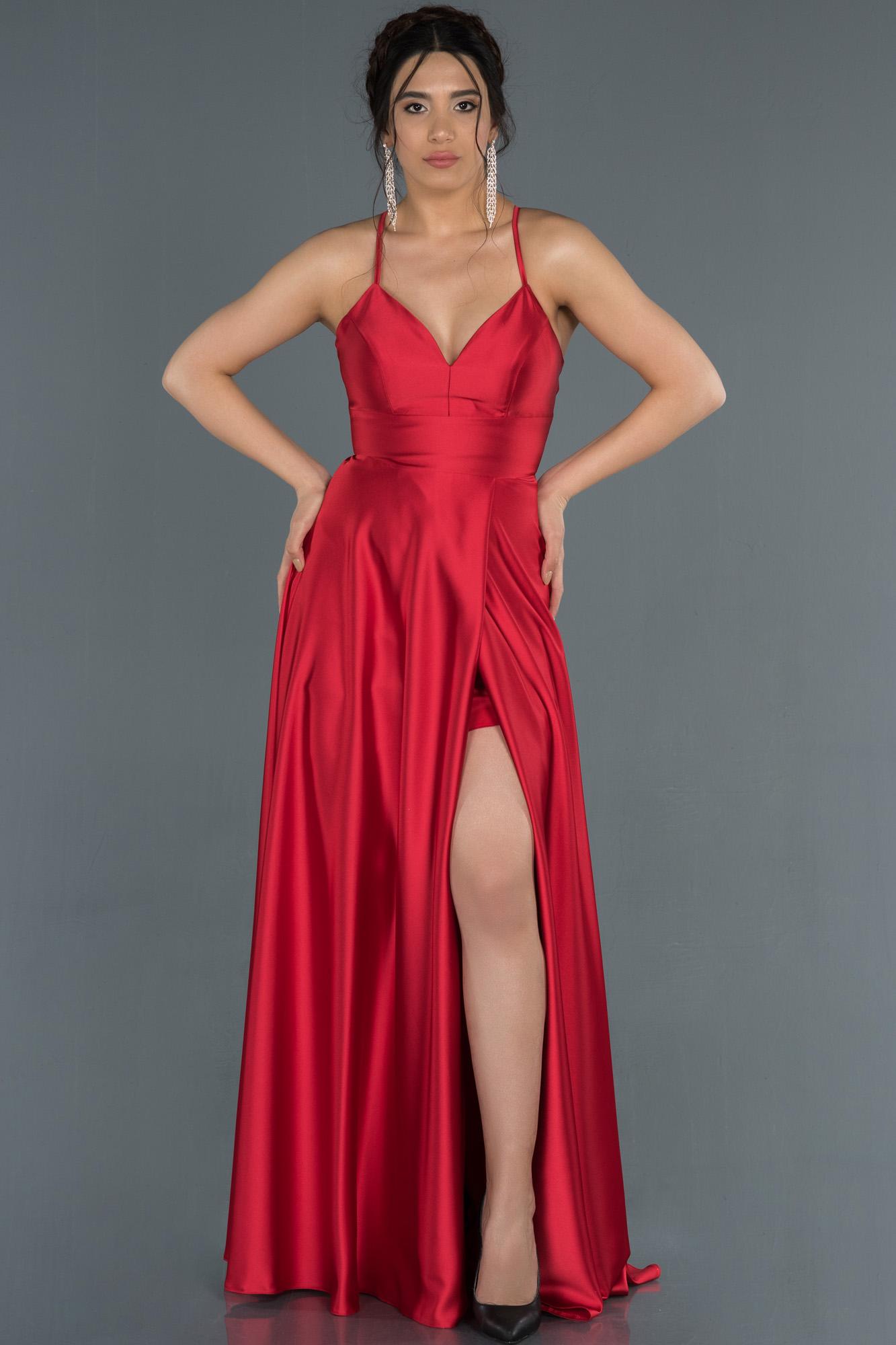 Kırmızı Bacak Ve Sırt Dekolteli Saten Abiye Elbise