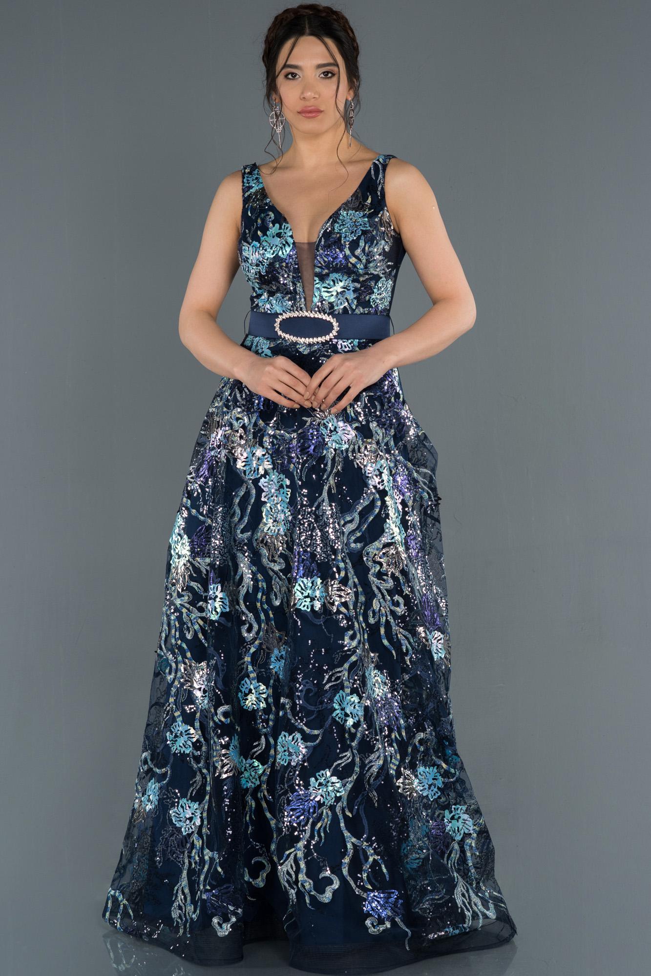 Lacivert Kemerli Çiçek Baskılı Abiye Elbise