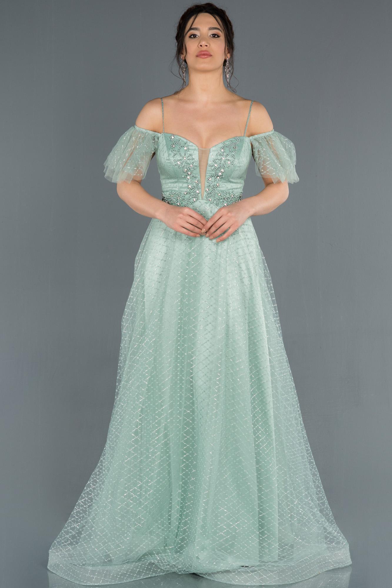 Firuze Kol Detaylı Simli Tül Abiye Elbise