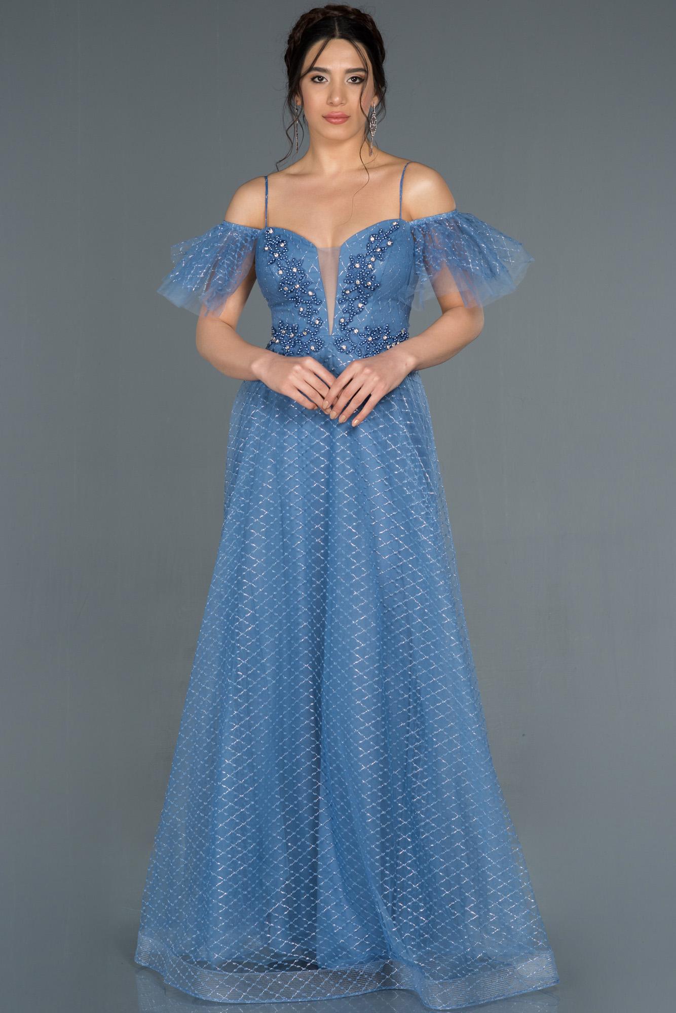 Indigo Kol Detaylı Simli Tül Abiye Elbise