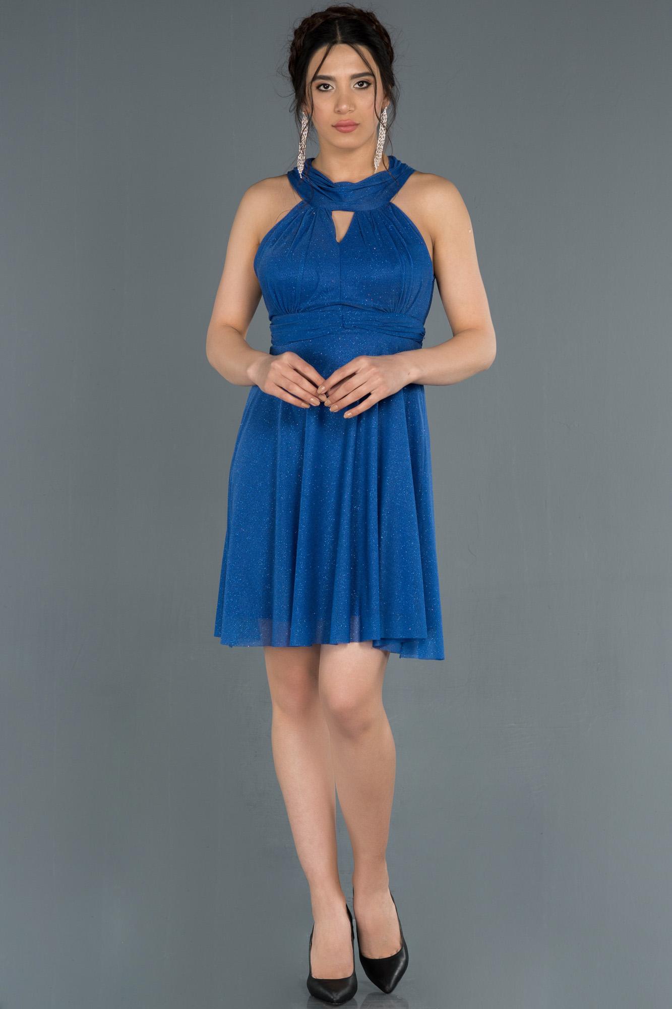 Saks Mavi Kısa Sırt Dekolteli Abiye Elbise