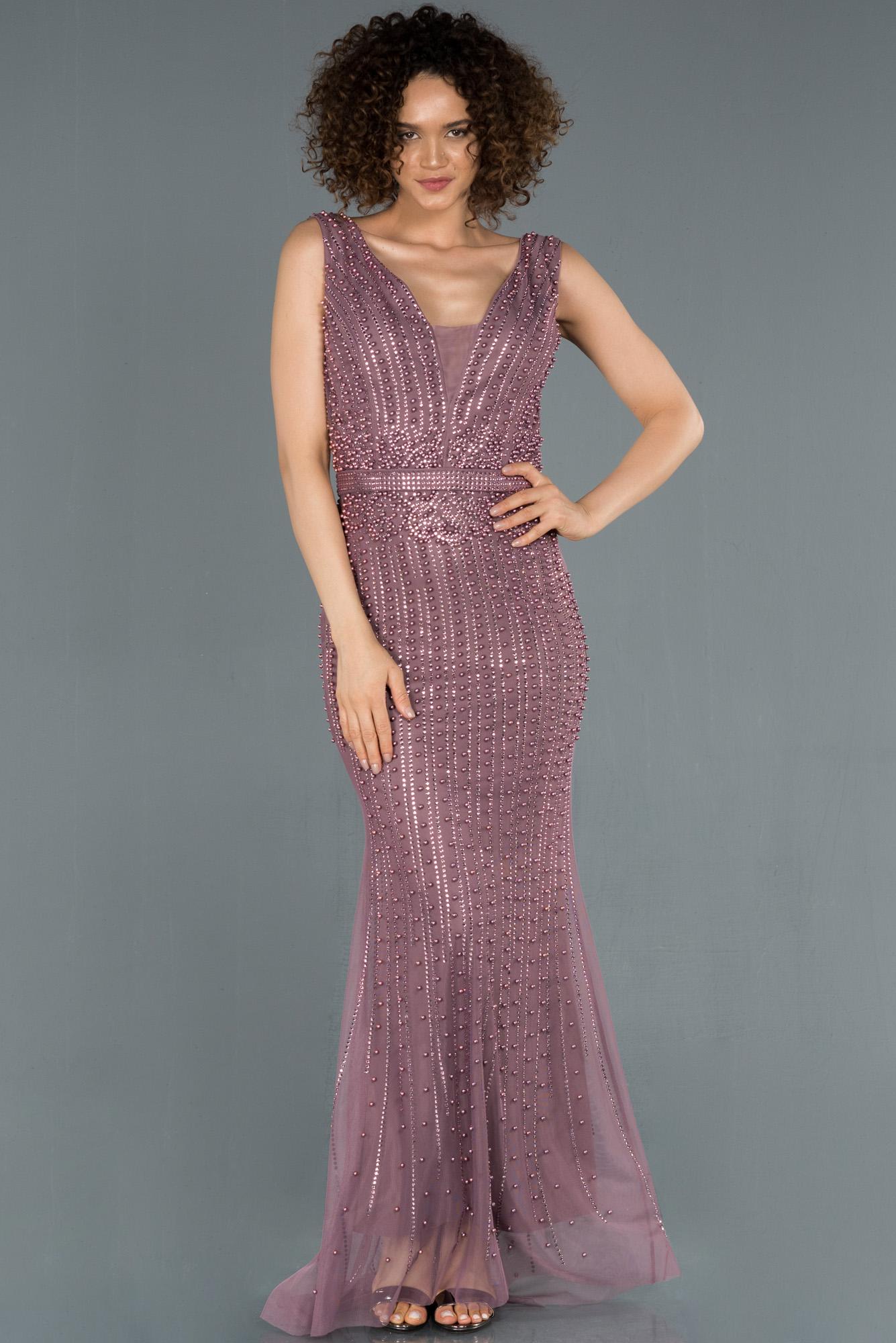 Lavanta Uzun Taşlı Balık Abiye Elbise