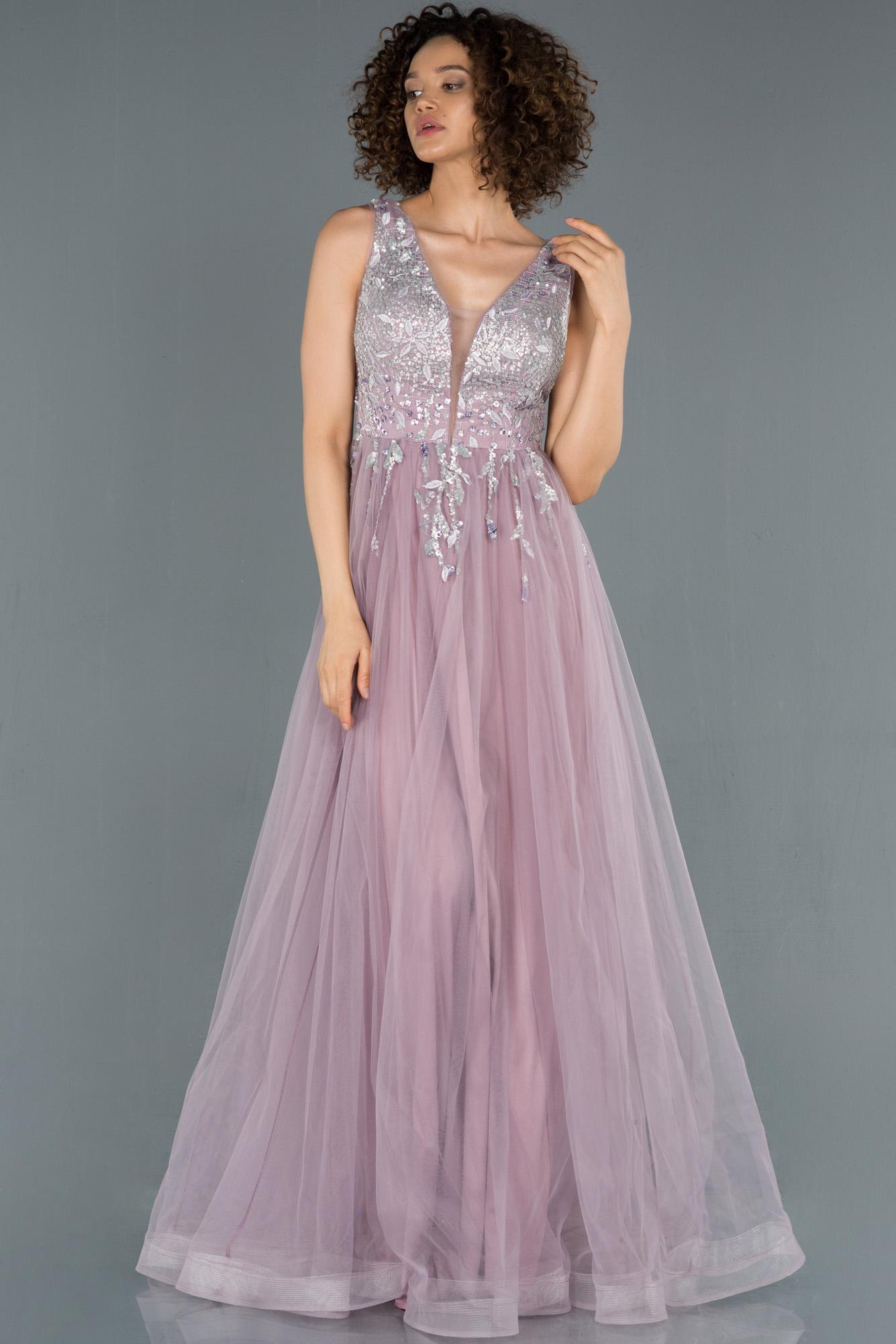Lavanta Işleme Detaylı Prenses Model Abiye
