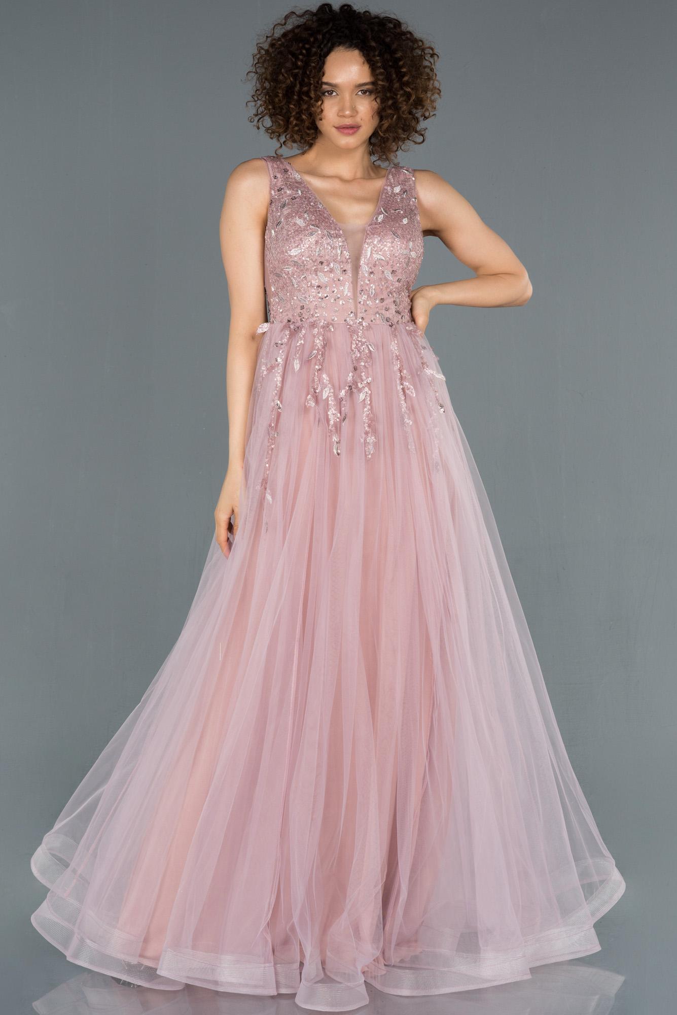 Pudra Işleme Detaylı Prenses Model Abiye