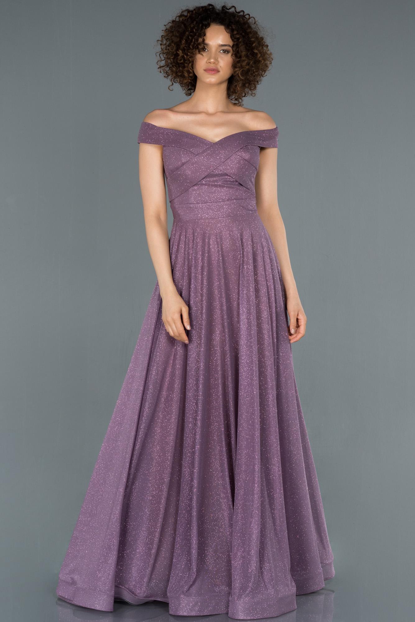 Lavanta Uzun Simli Kayık Yaka Abiye Elbise