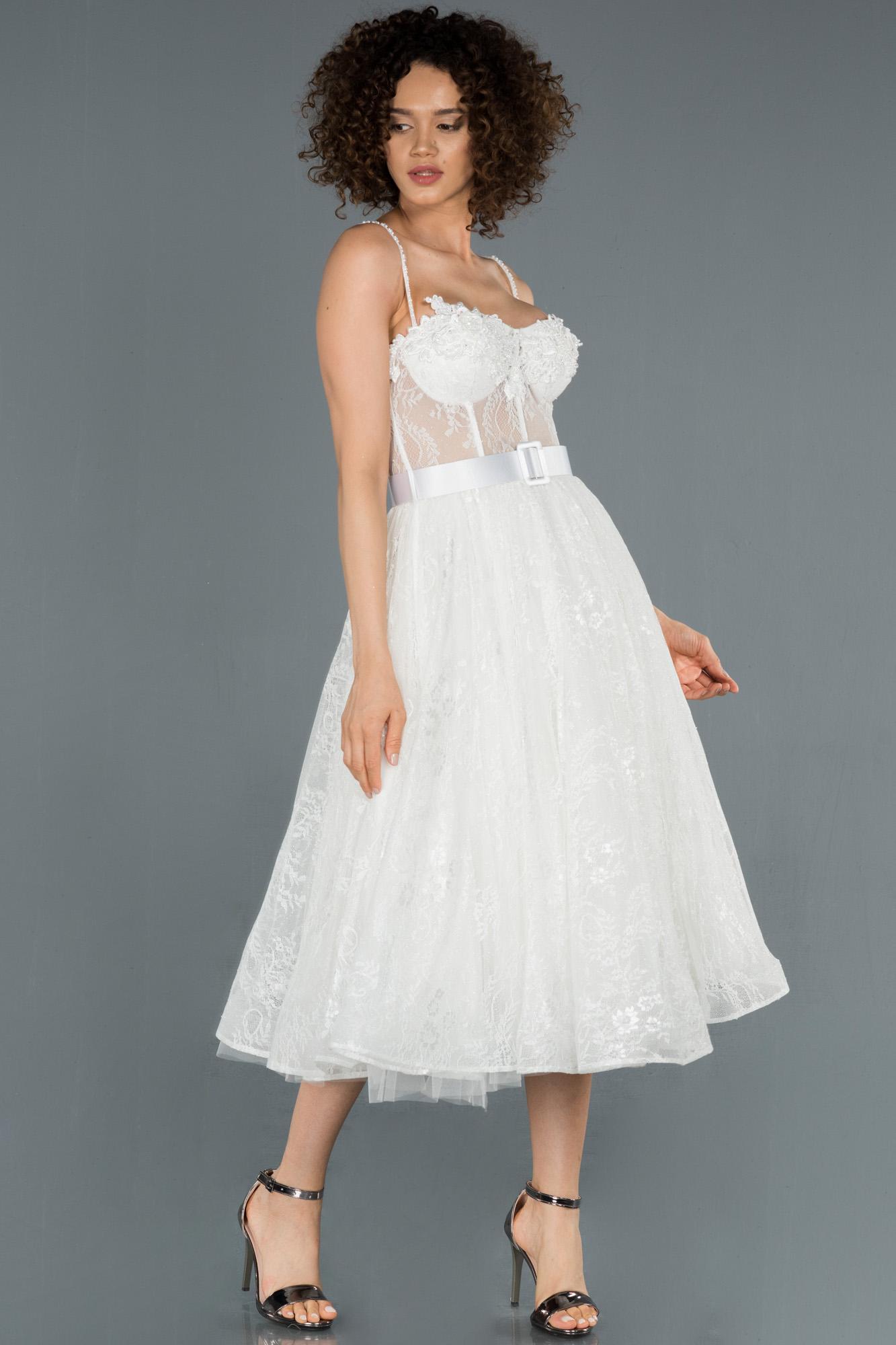 Beyaz Midi Ip Askılı Transparan Detaylı Abiye Elbise
