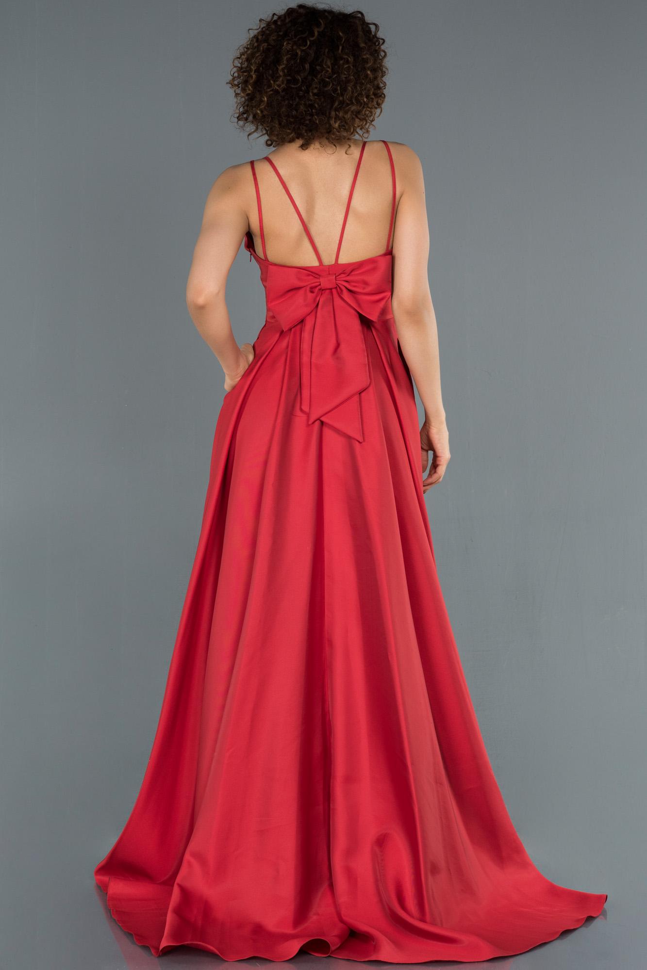 Kırmızı Sırtı Kurdelalı Cep Detaylı Saten Krep Abiye Elbise