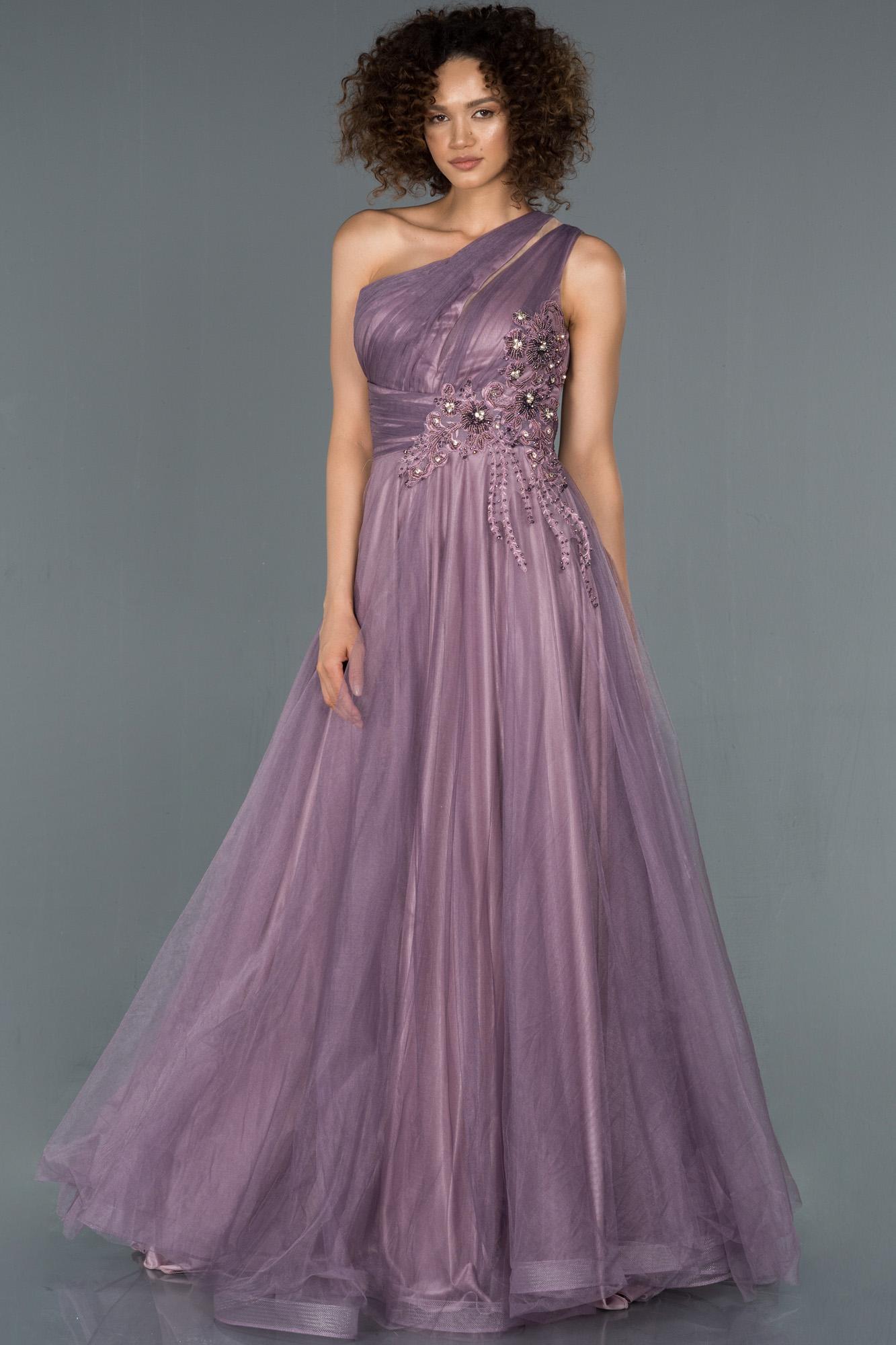 Lavanta Taş Işlemeli Prenses Abiye Elbise