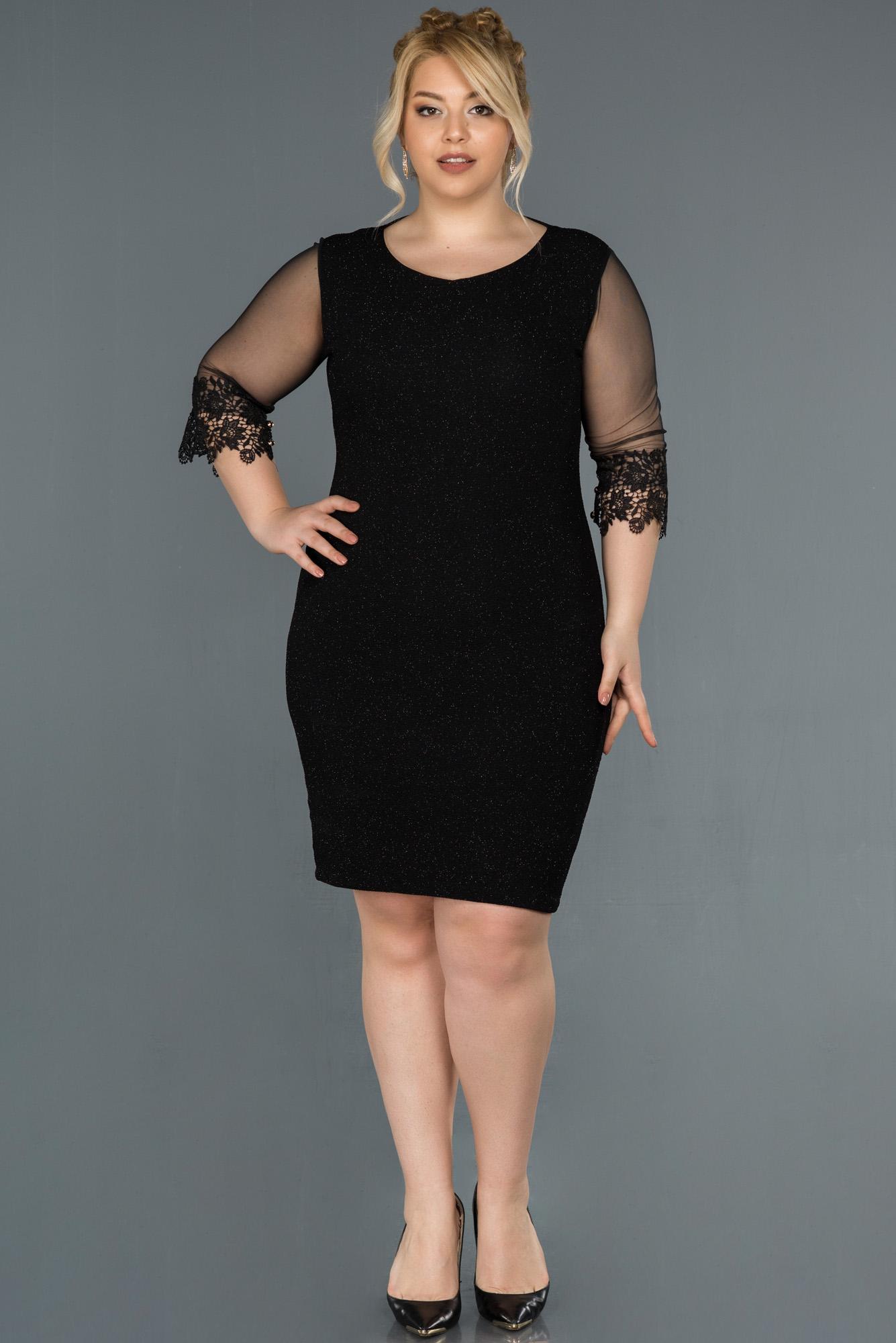 Kısa Siyah Simli Büyük Beden Elbise
