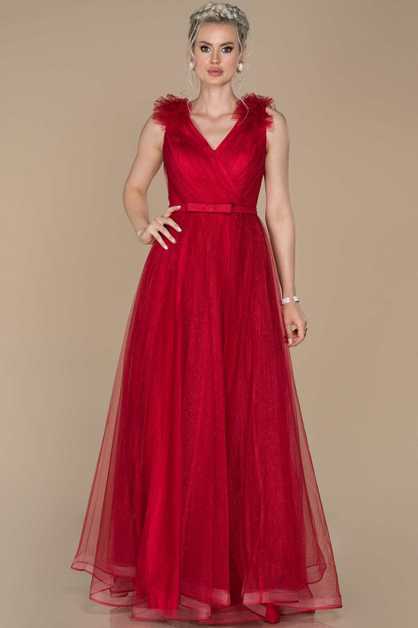 Kırmızı V Yaka Kendinden Kemerli Abiye Elbise