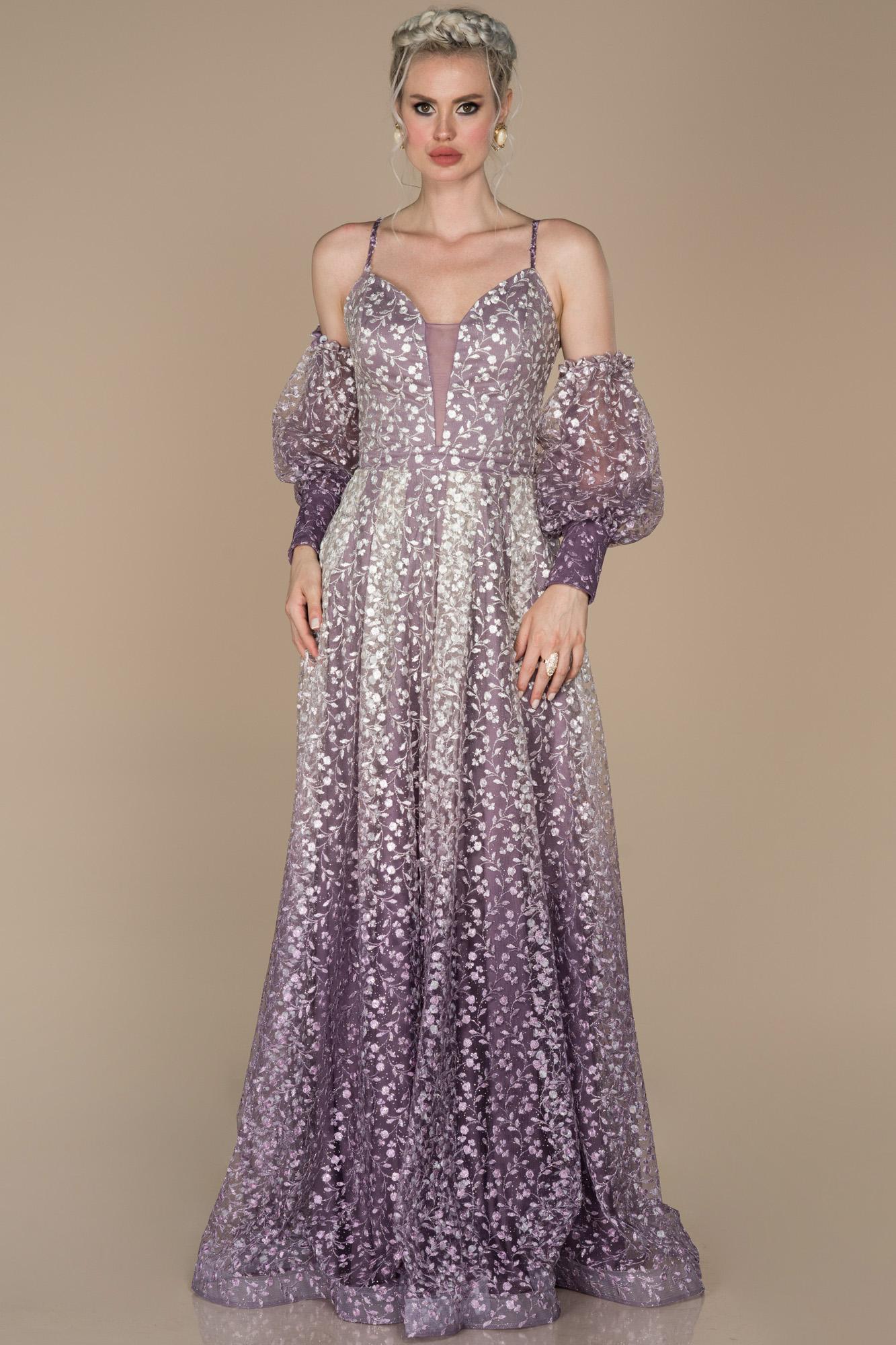 Mor Balon Kol Güpürlü Nişan Elbisesi