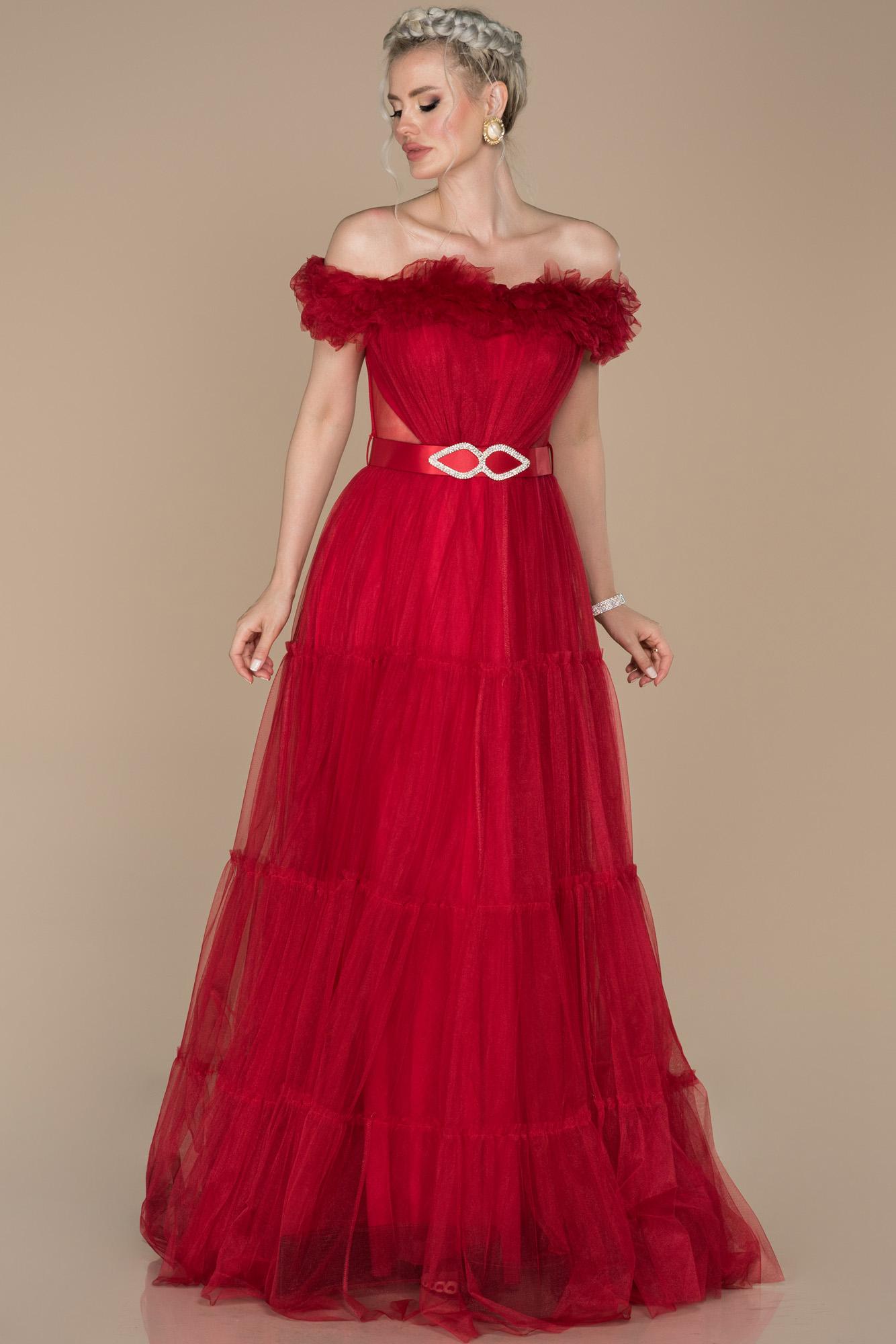 Kırmızı Madonna Yaka Kemerli Tül Abiye Elbise