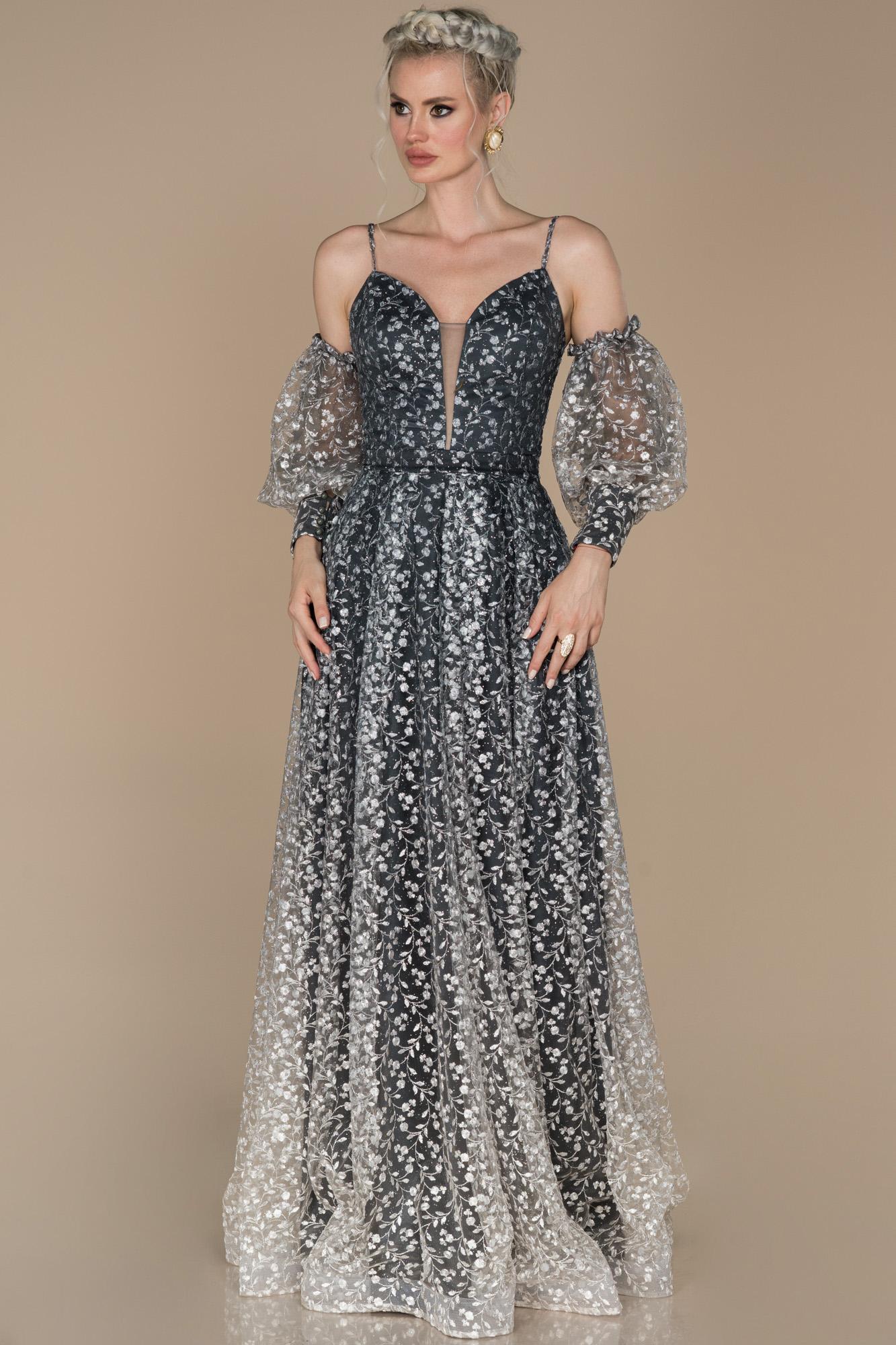 Gri Balon Kol Güpürlü Nişan Elbisesi