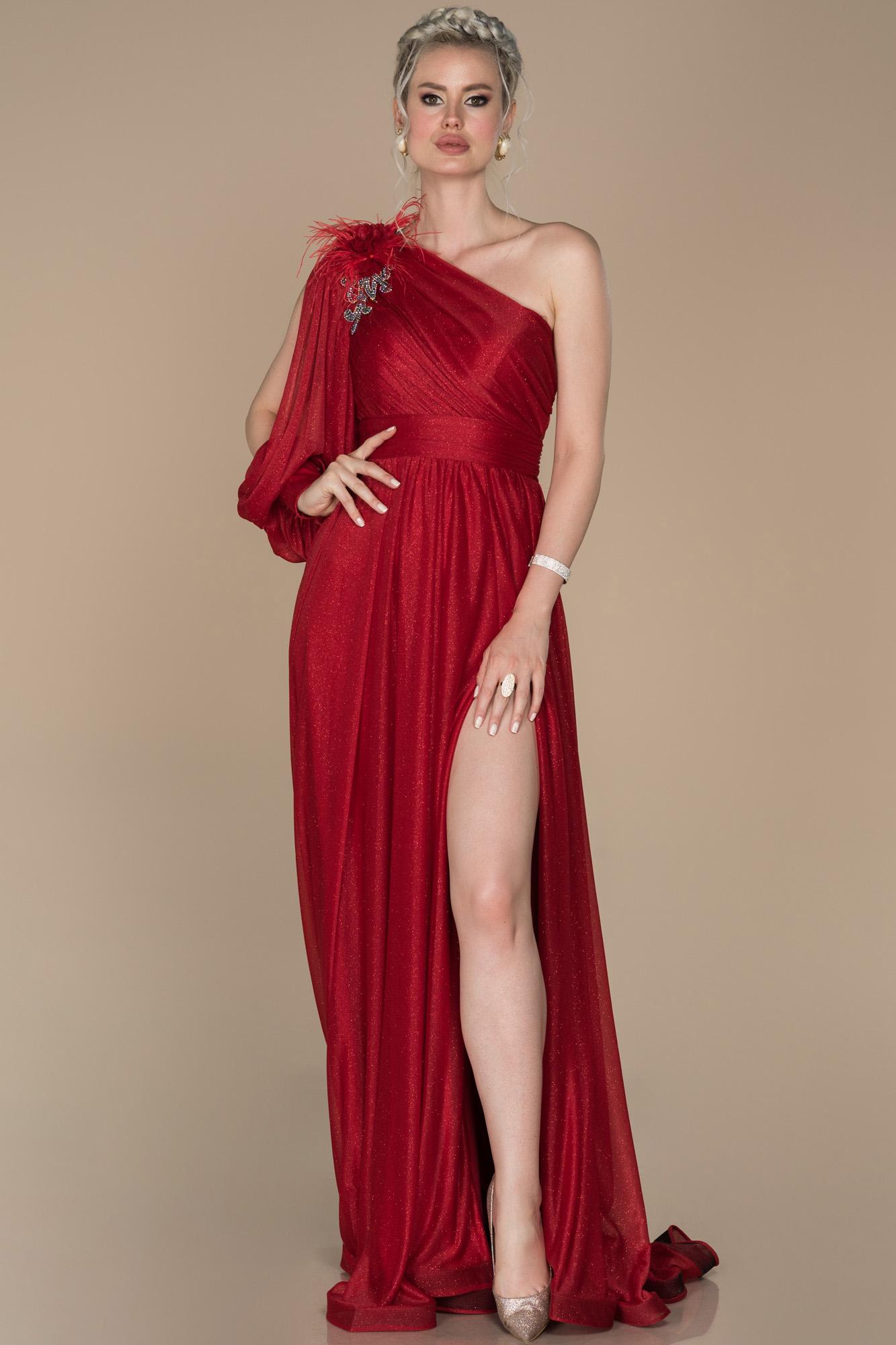 Kırmızı Bacak Dekolteli Tek Kol Simli Abiye Elbise