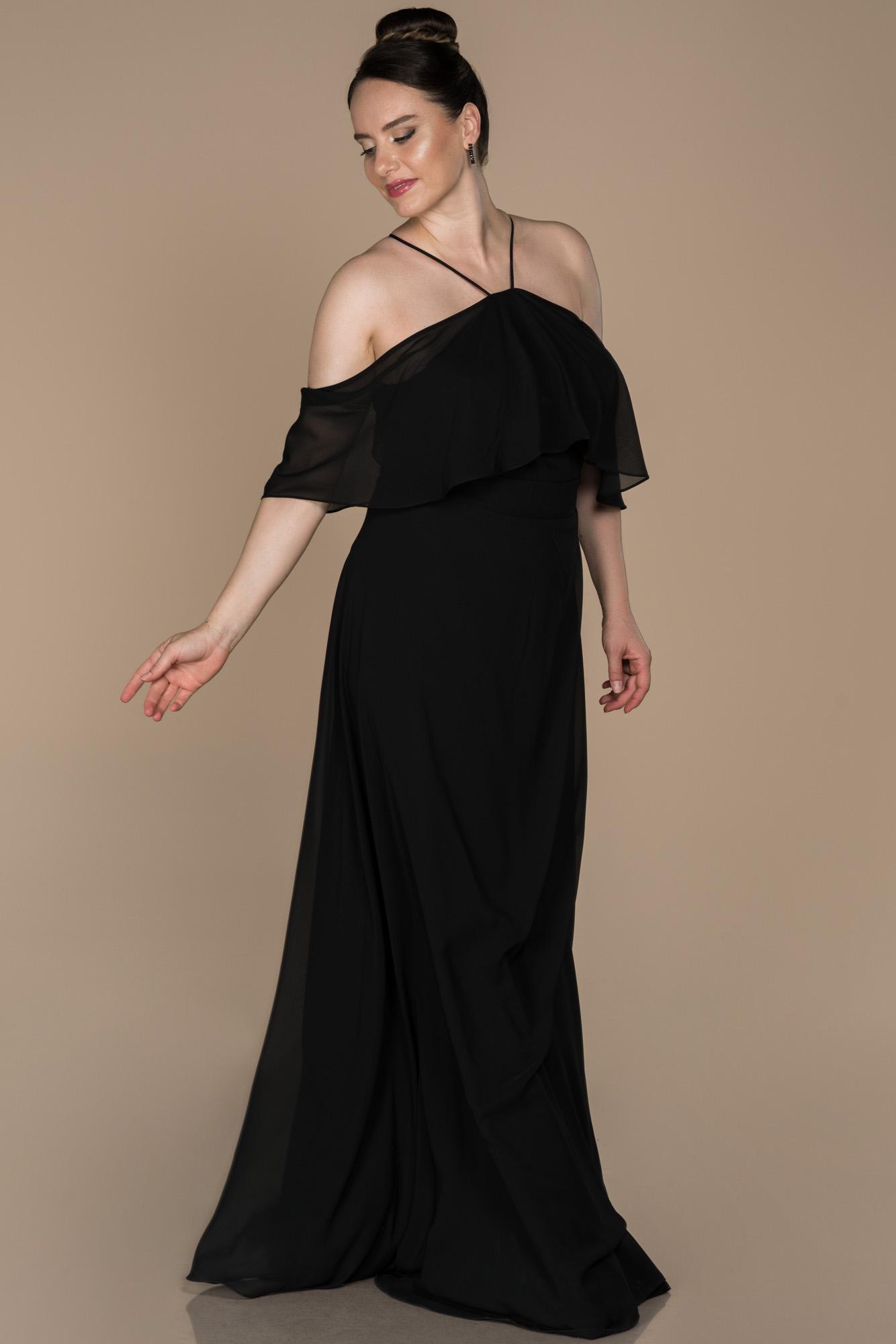 Siyah Şifon Büyük Beden Abiye Elbise