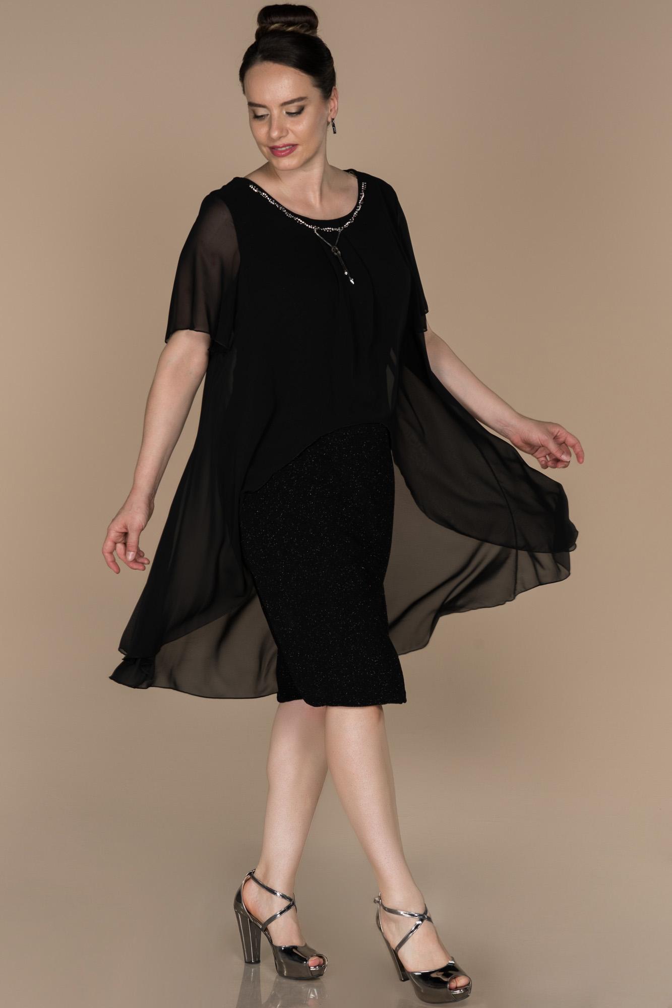 Siyah Büyük Beden Davet Elbisesi