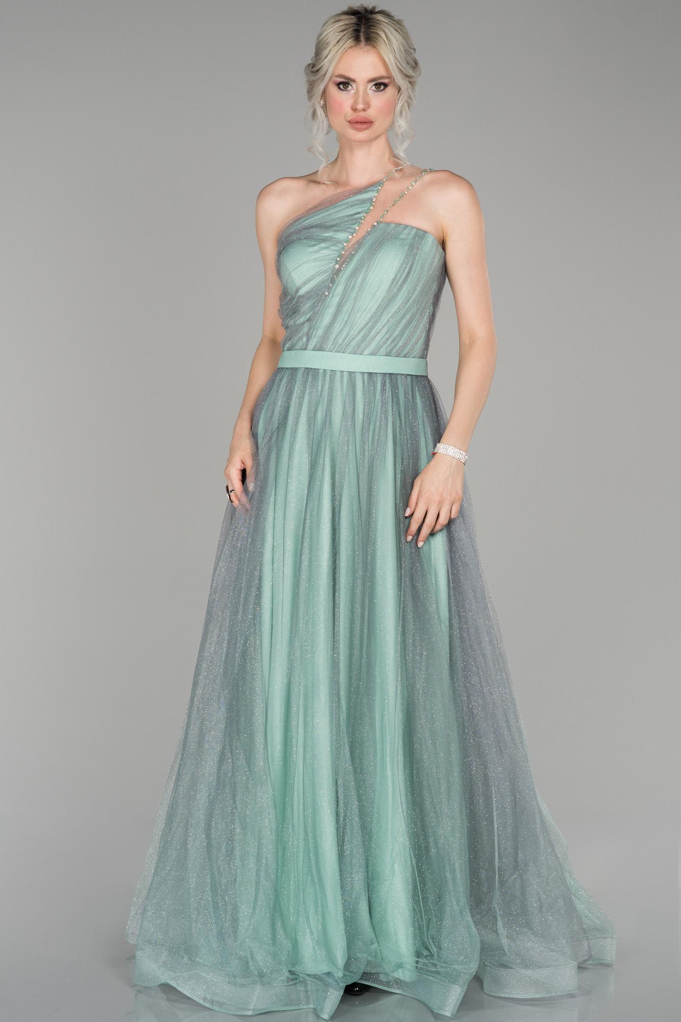 Firuze Tek Omuz Simli Tül Detaylı Prenses Abiye Elbise