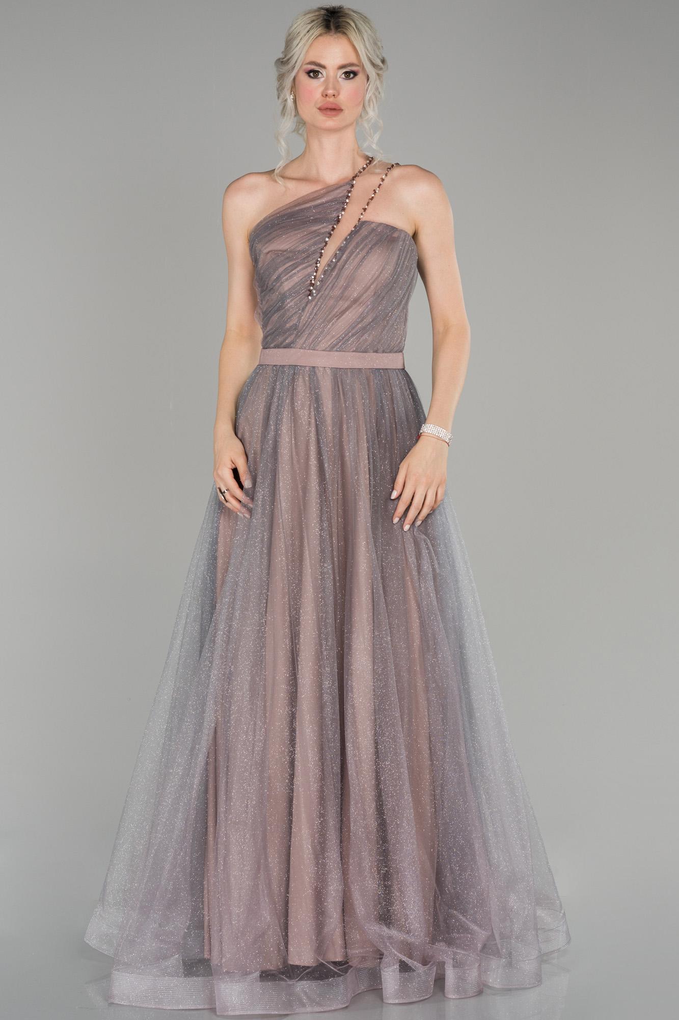 Lavanta Tek Omuz Simli Tül Detaylı Prenses Abiye Elbise