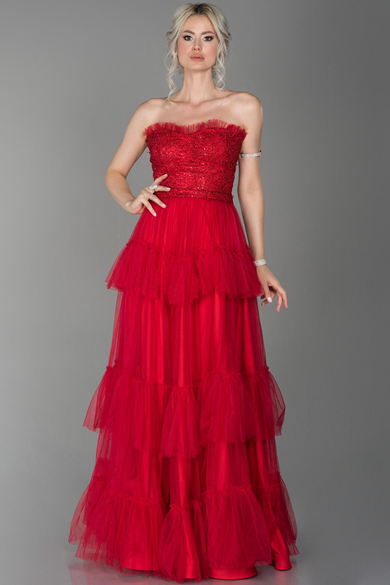 Kırmızı Straplez Kat Kat Tül Detaylı Prenses Abiye