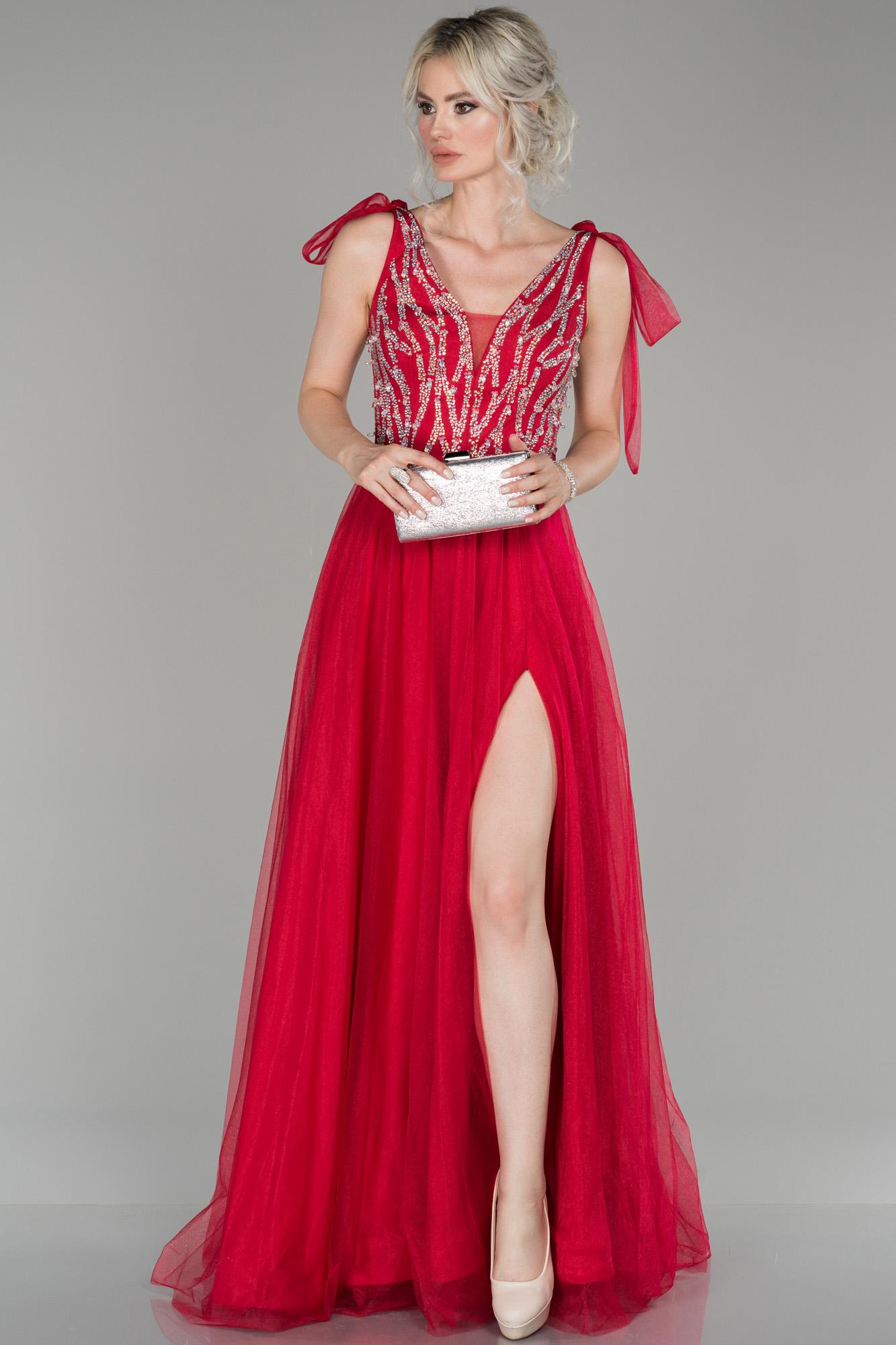 Kırmızı Bacak Dekolteli Taşlı Kolsuz Abiye Elbise