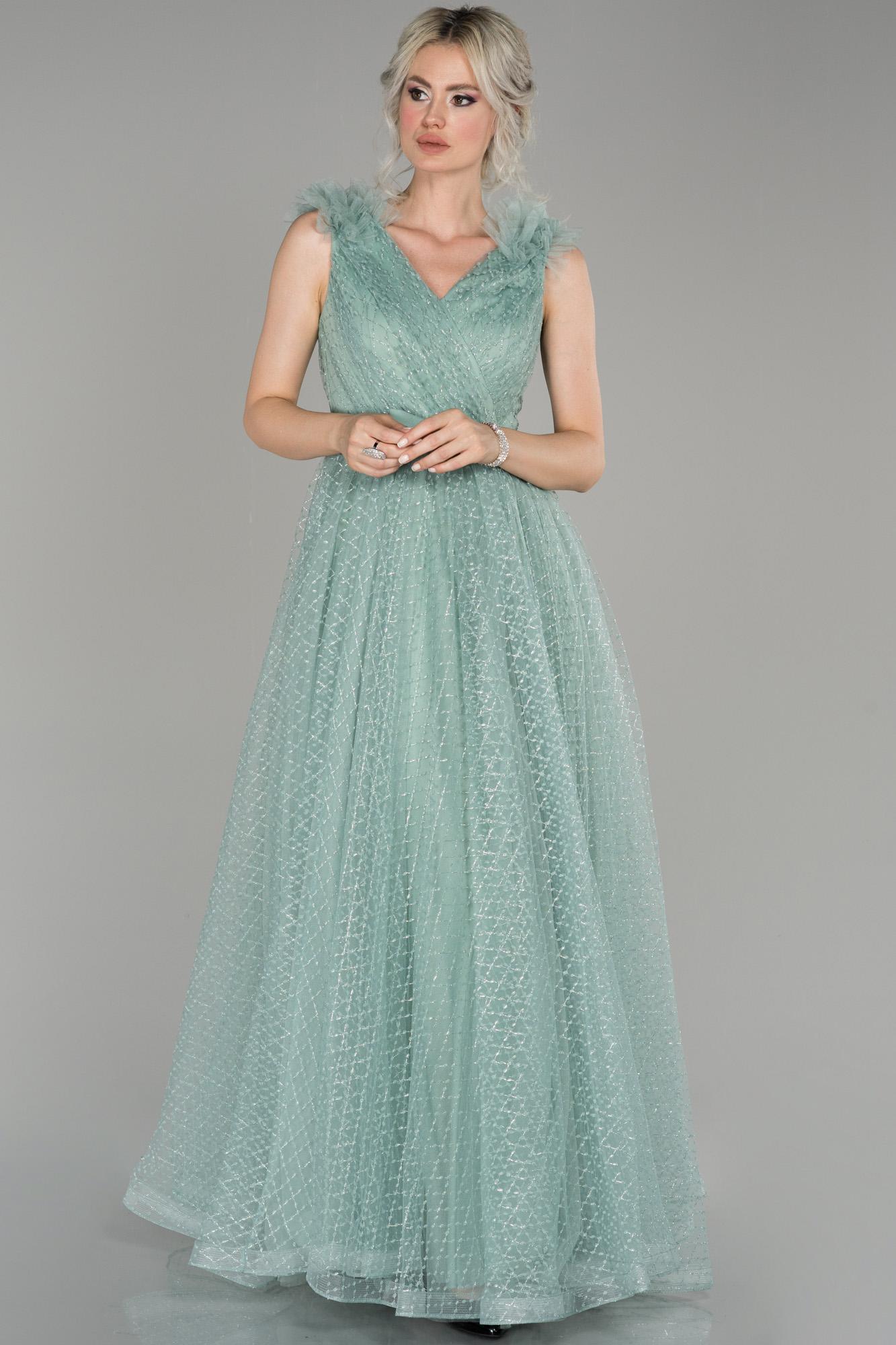 Firuze V Yaka Sim Detaylı Prenses Abiye Elbise