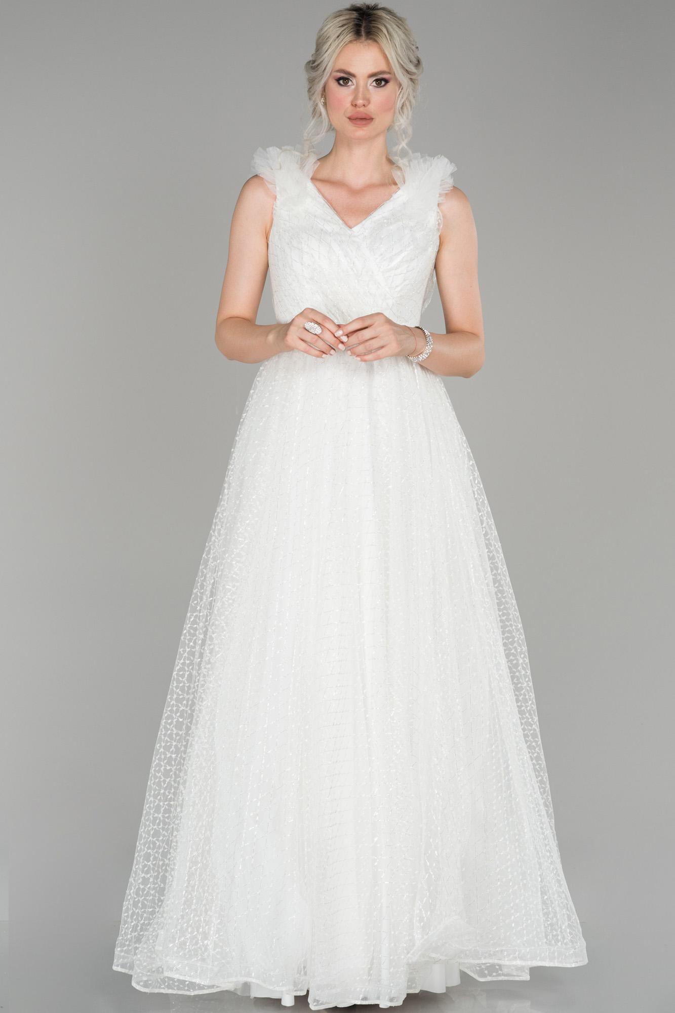 Ekru V Yaka Sim Detaylı Prenses Abiye Elbise