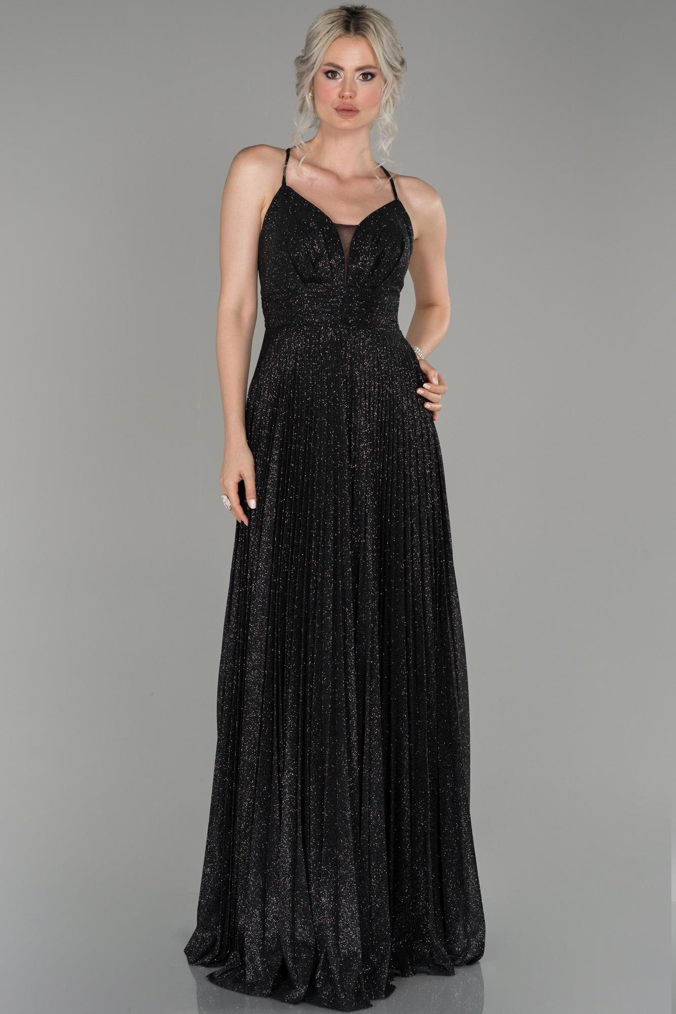 Siyah Uzun Ateş Pile Sim Kumaş Abiye Elbise