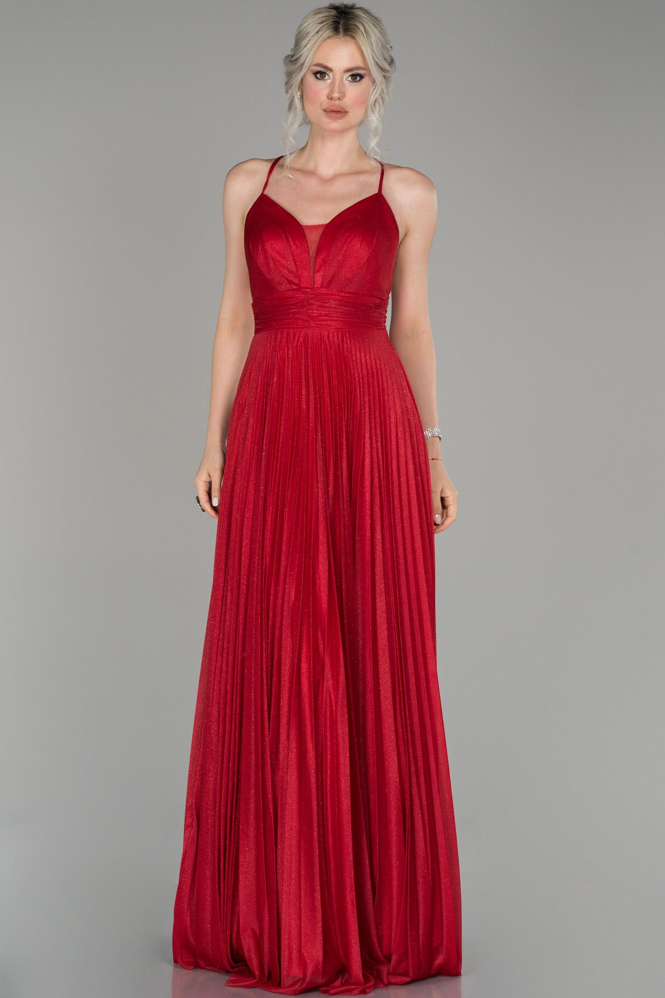 Kırmızı Uzun Ateş Pile Sim Kumaş Abiye Elbise